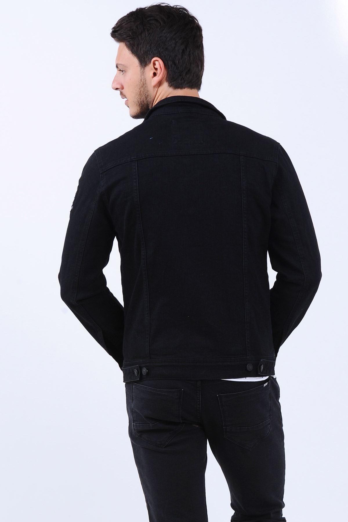 Armalı Siyah Erkek Kot Ceket