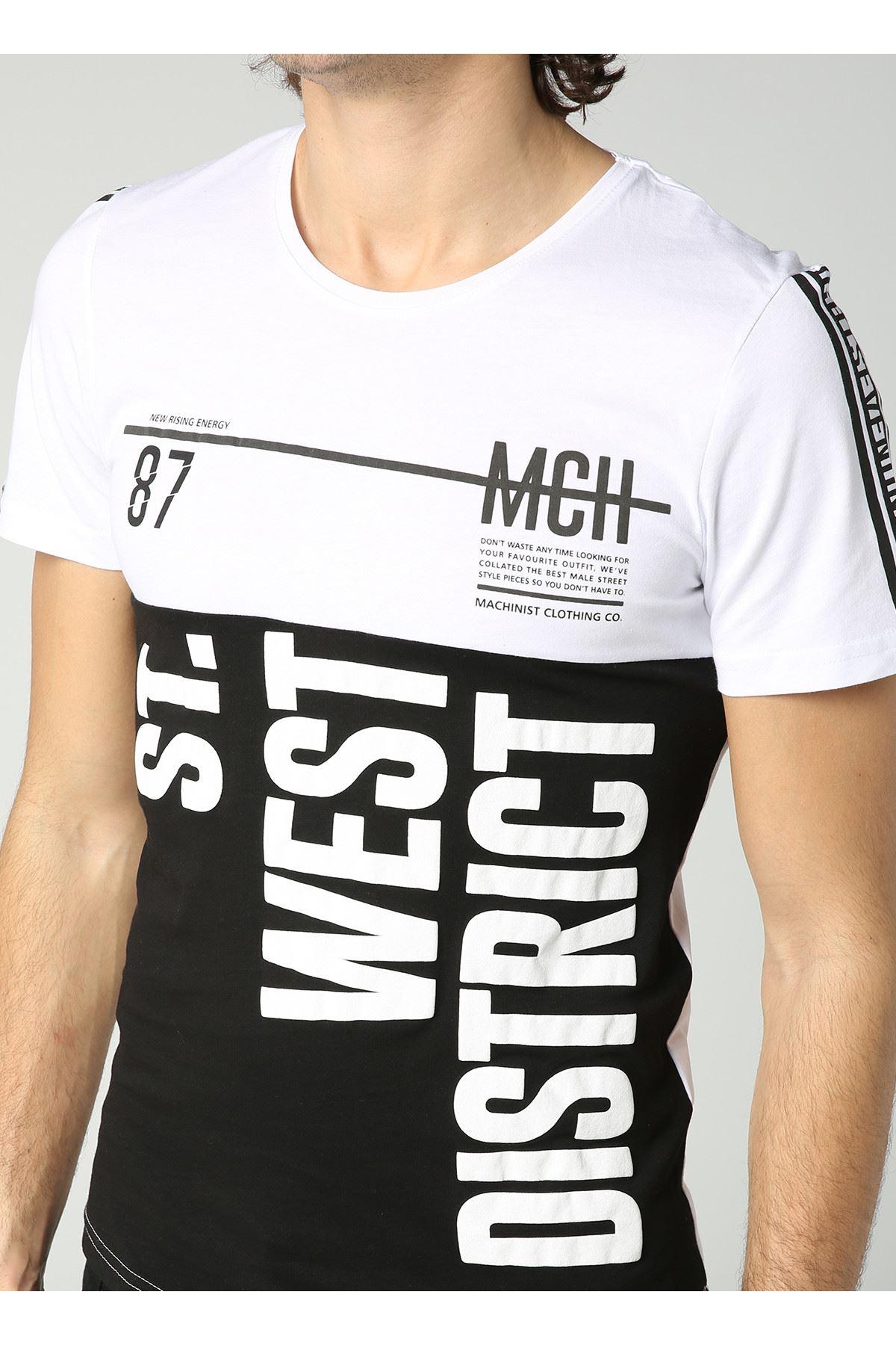 Bisiklet Yaka West Baskılı Siyah Beyaz Erkek T-Shirt