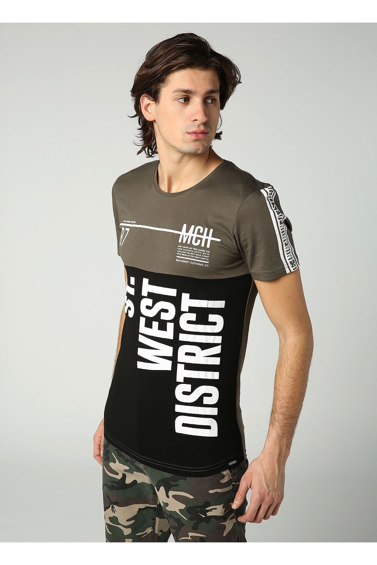 Bisiklet Yaka West Baskılı Siyah Haki Erkek T-Shirt