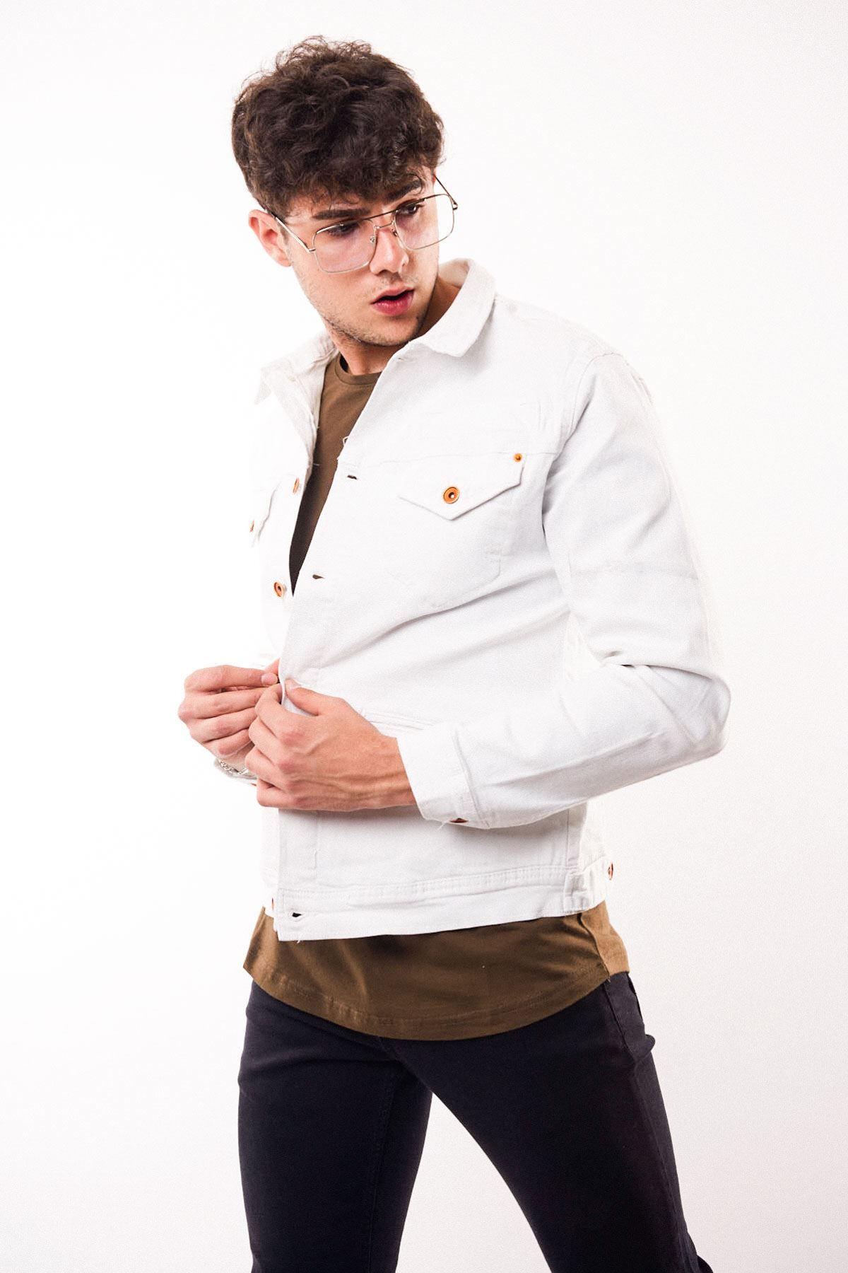 Bakır Düğmeli Beyaz Erkek Kot Ceket