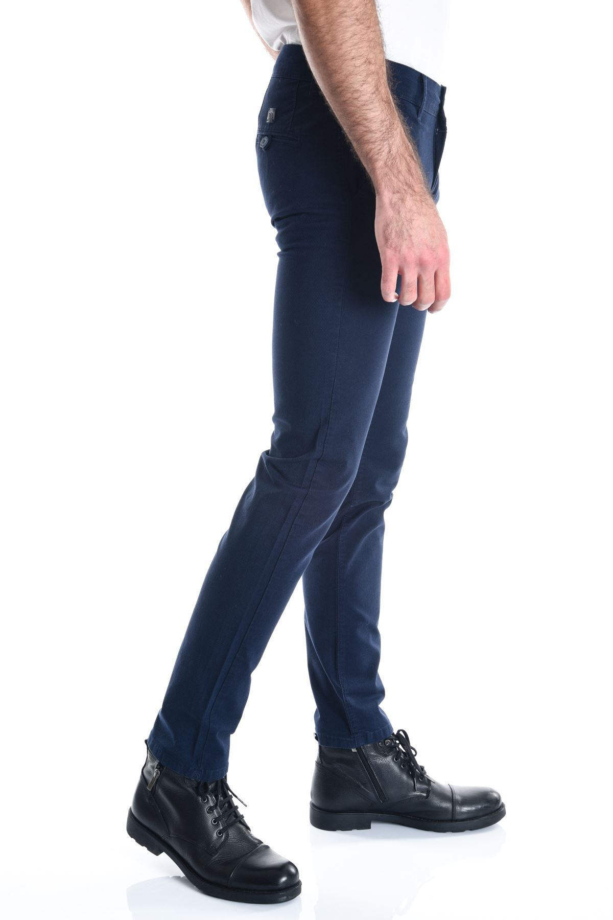 Açık Lacivert Desenli Slimfit Erkek Chino Pantolon