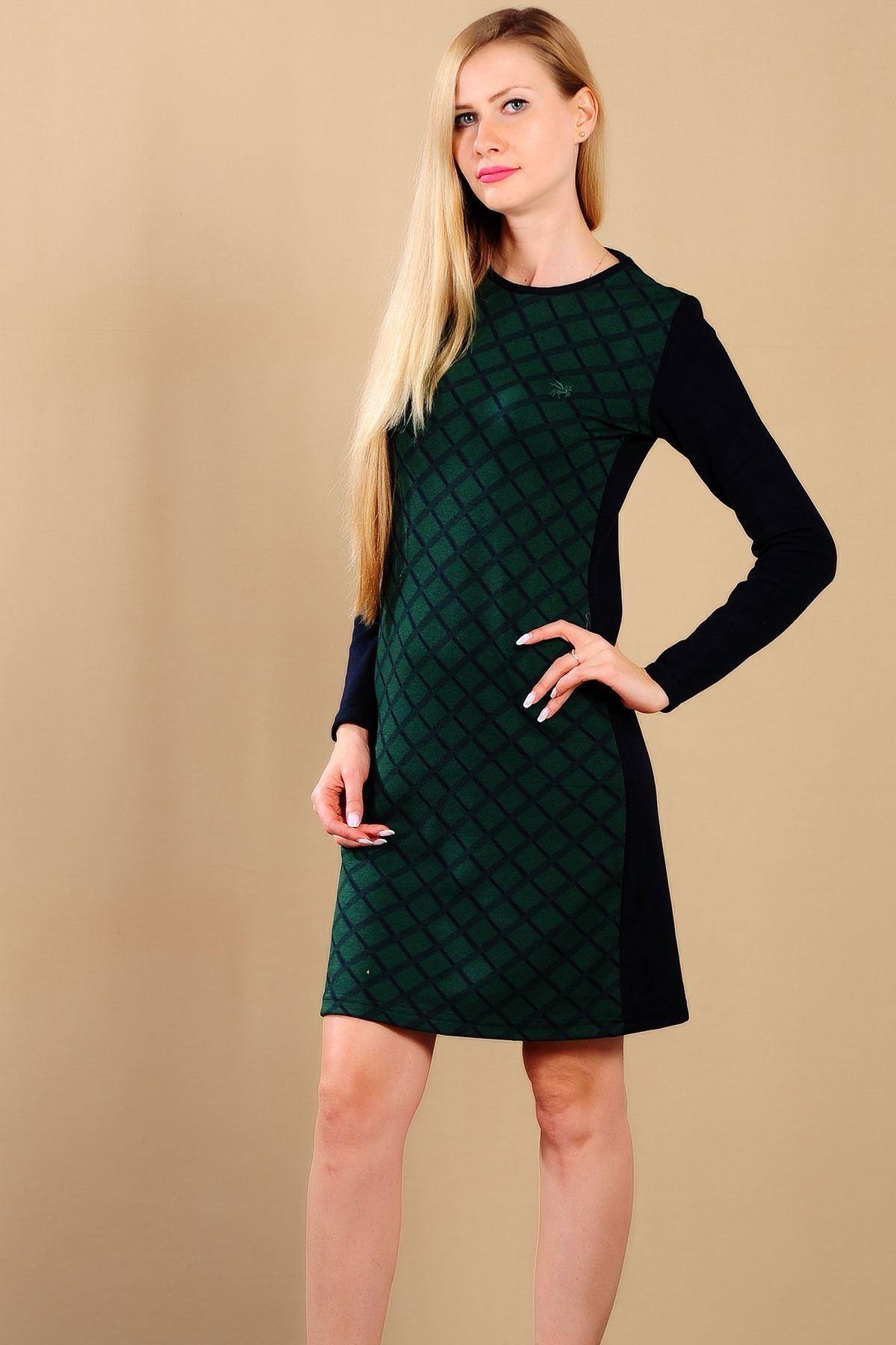Bayan Ekoseli Yeşil Sweat