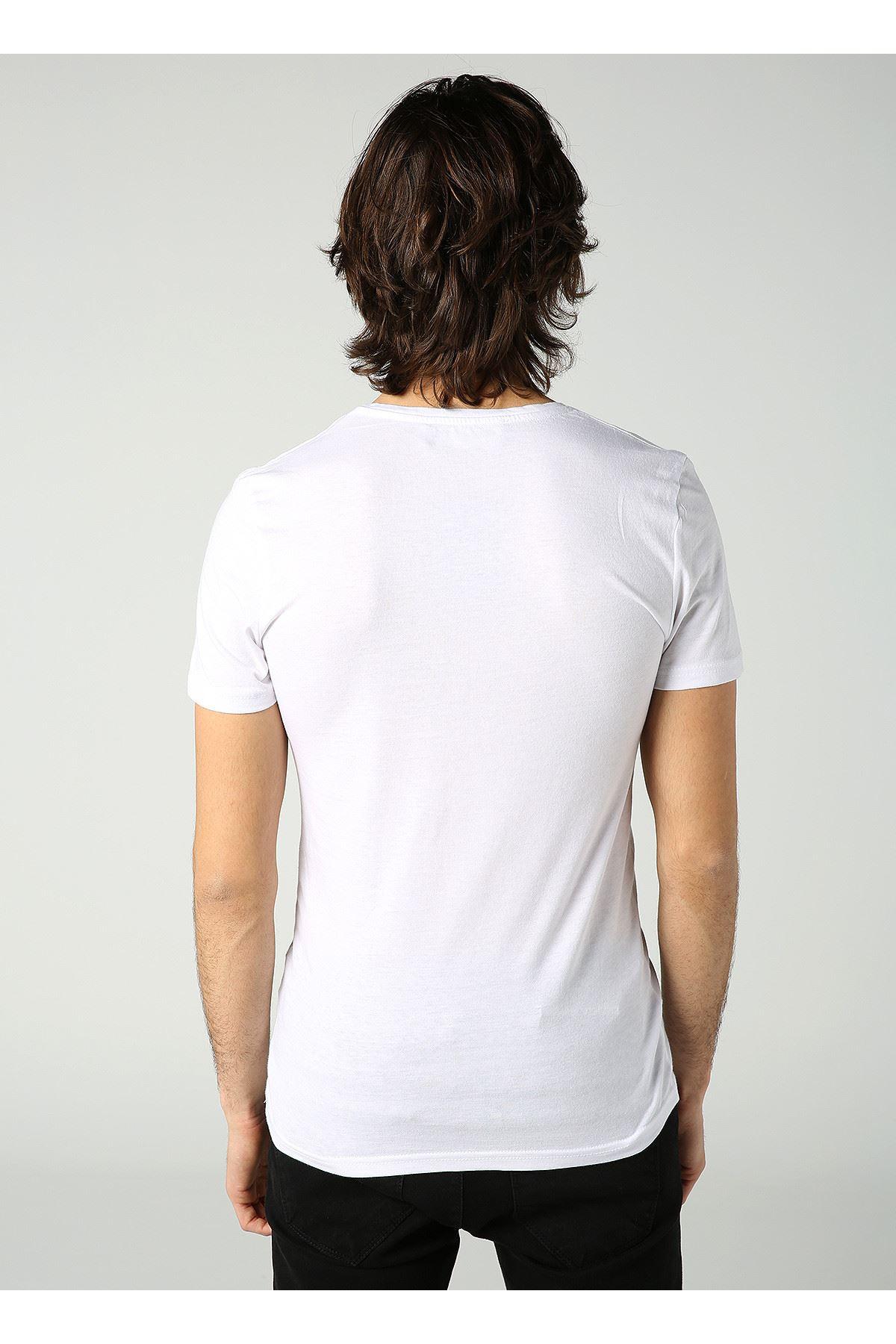 Bisiklet Yaka Cont Baskılı Erkek Beyaz T-Shirt