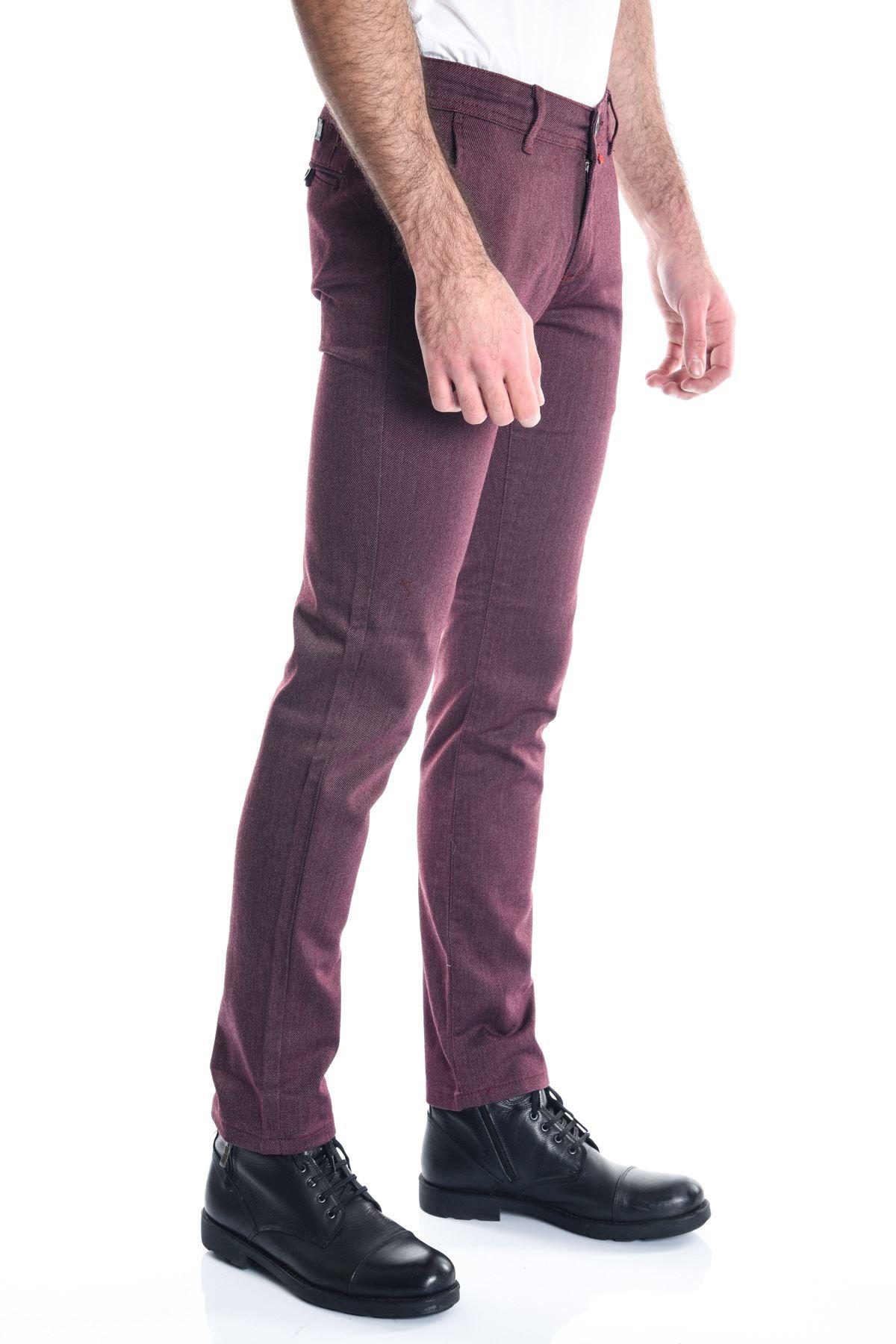 Bordo Slimfit Erkek Chino Pantolon