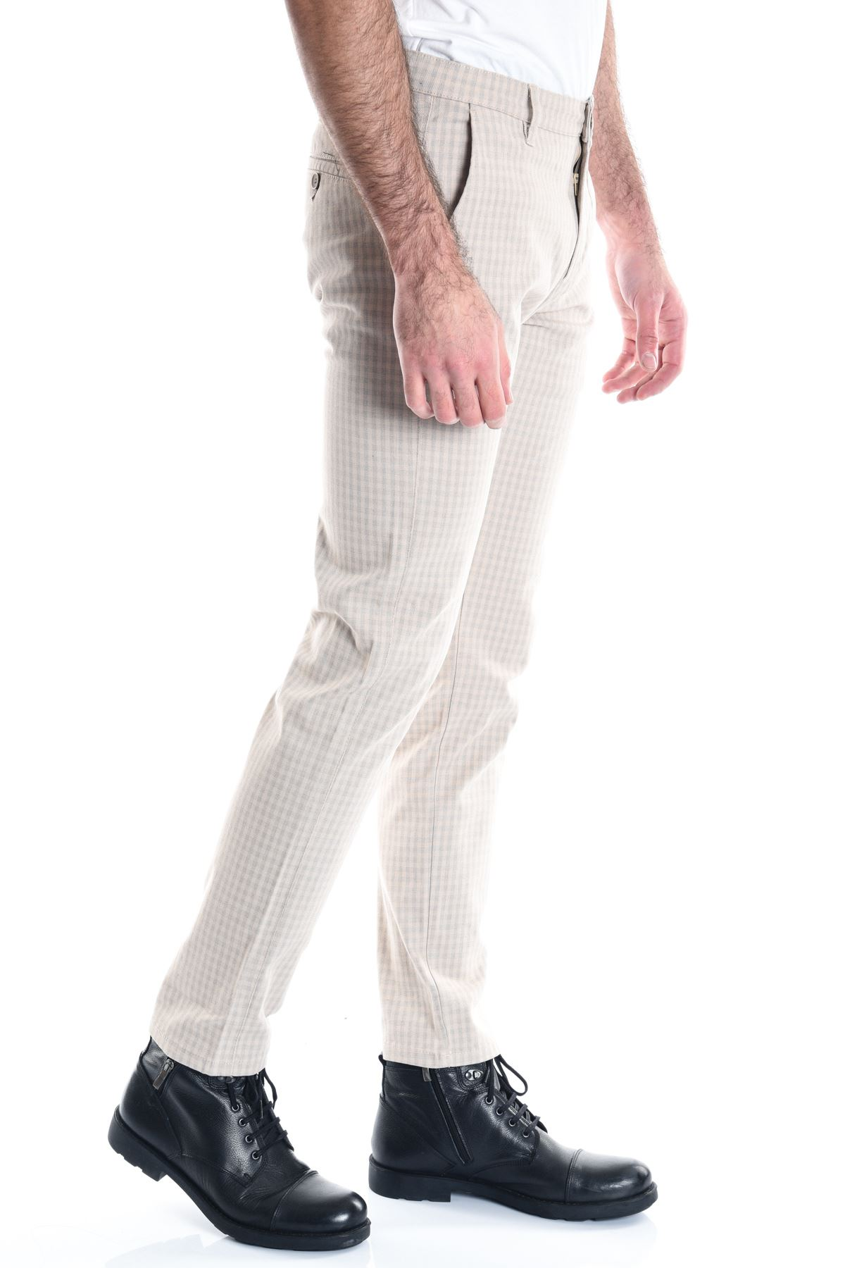 Bej Ekose Slimfit Chino Erkek Pantolon