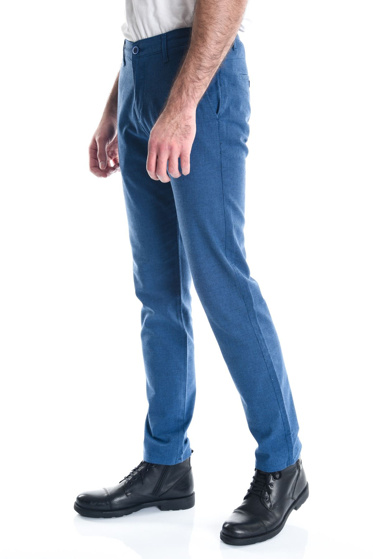 Açık Lacivert Slimfit Armürlü Erkek Chino Pantolon