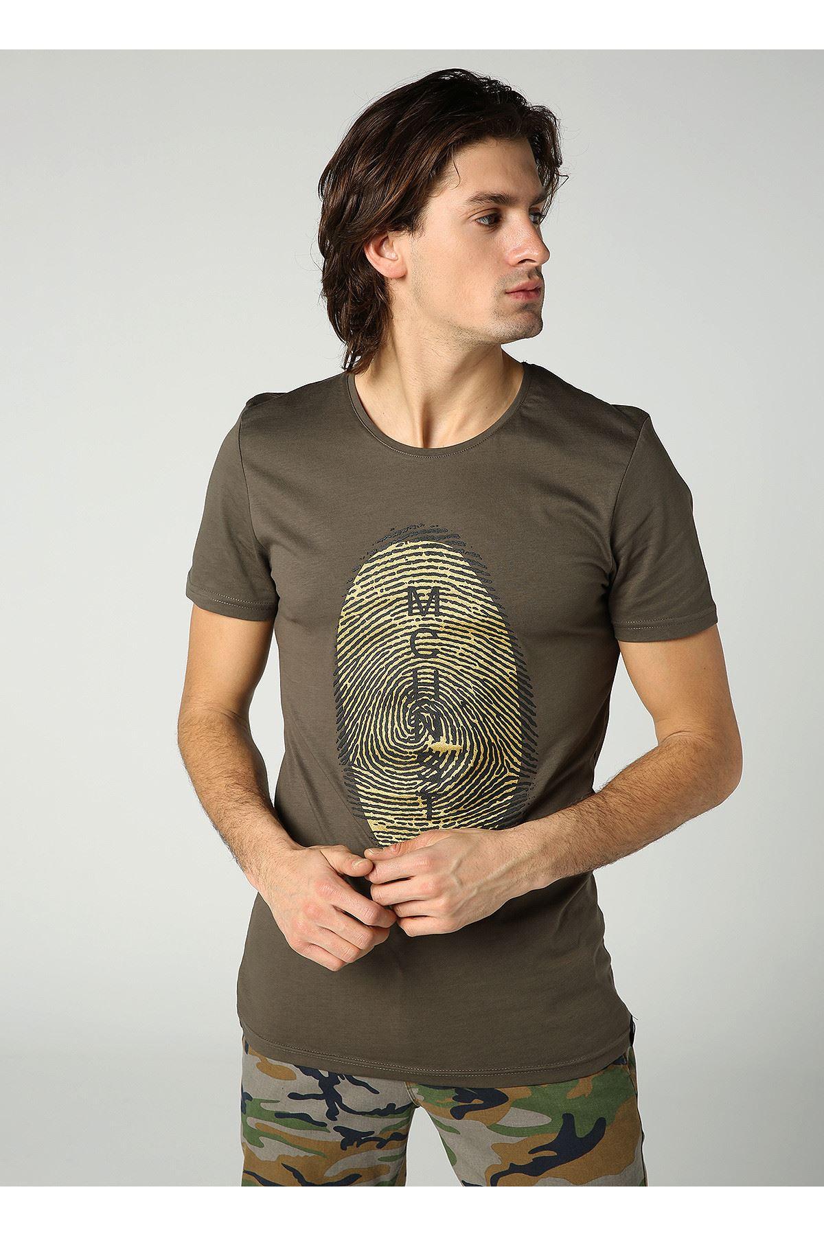 Bisiklet Yaka Parmak İzi Baskılı Erkek Haki T-Shirt