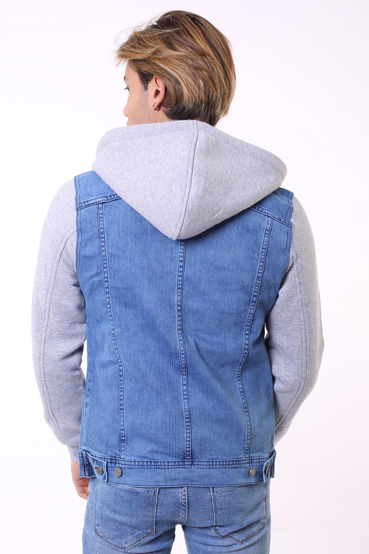Açık Mavi Kapüşonlu Erkek Kot Ceket