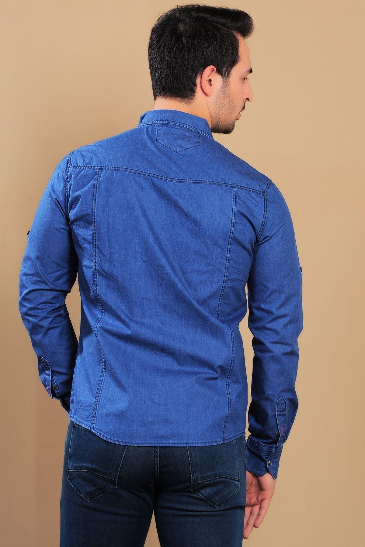 Çift Cep Çıtçıtlı Mavi Erkek Kot Gömlek