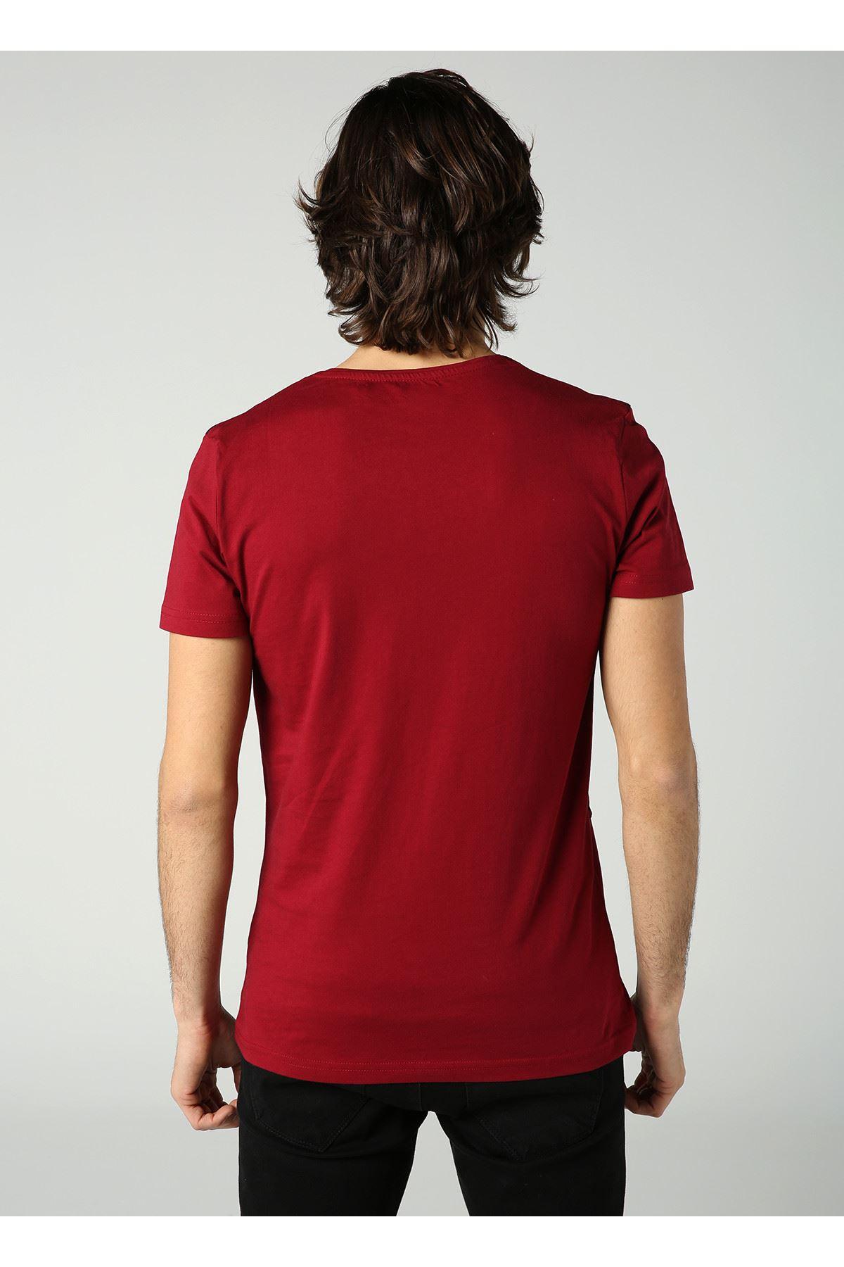 Bisiklet Yaka Çizgi Baskılı Erkek Bordo T-Shirt