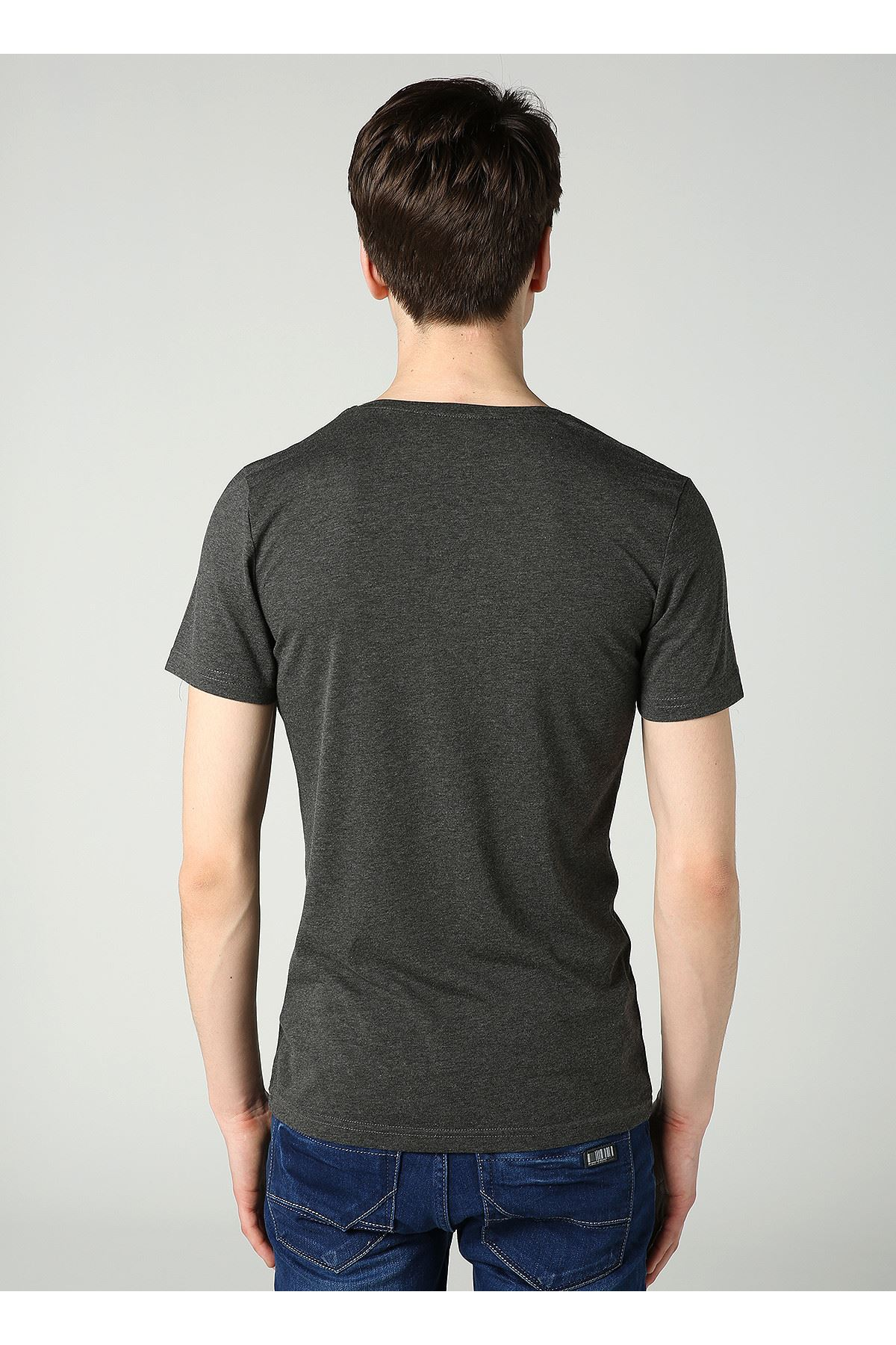 Bisiklet Yaka Baskılı Erkek Antrasit T-Shirt