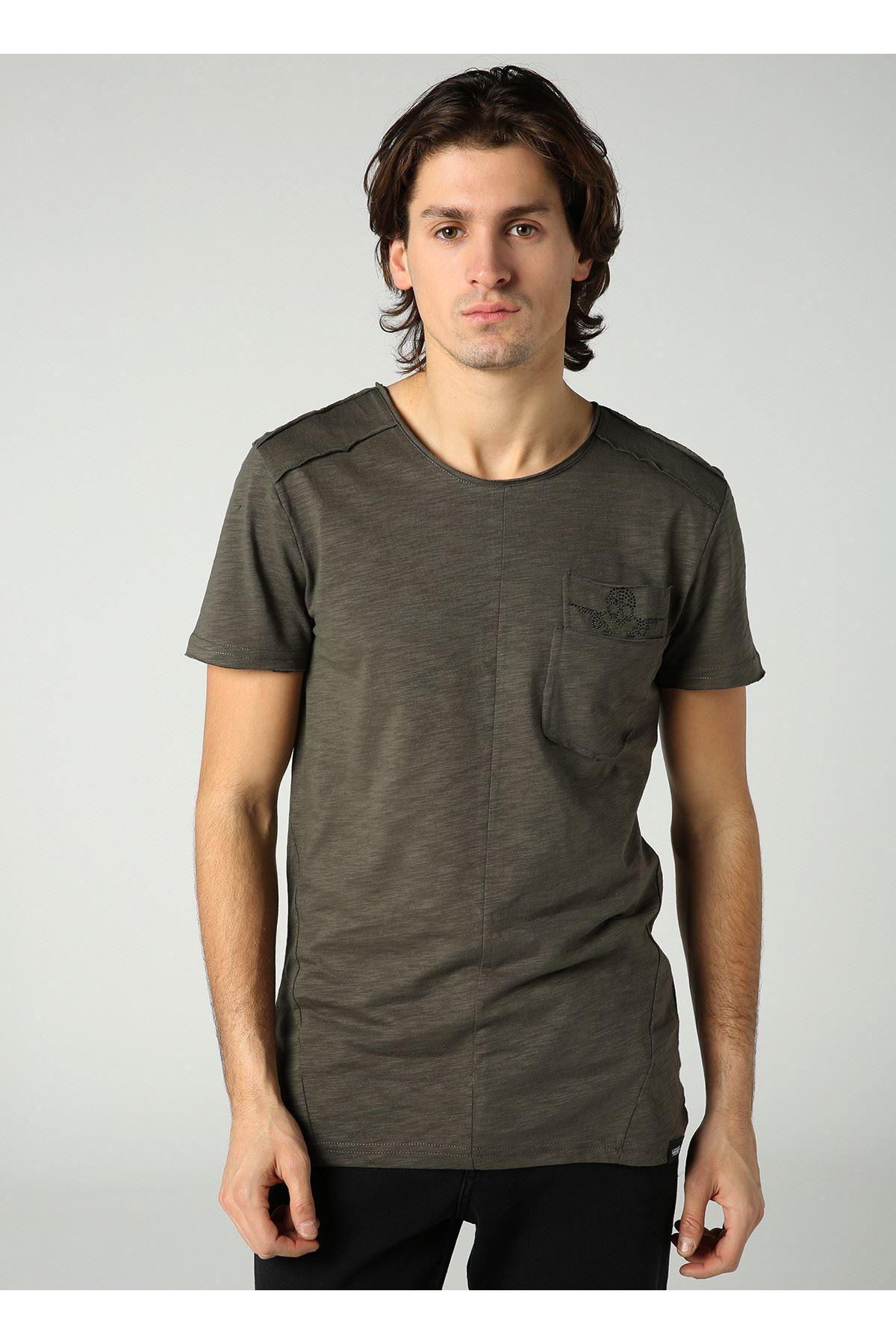 Bisiklet Yaka Cep Detay Haki Erkek T-Shirt