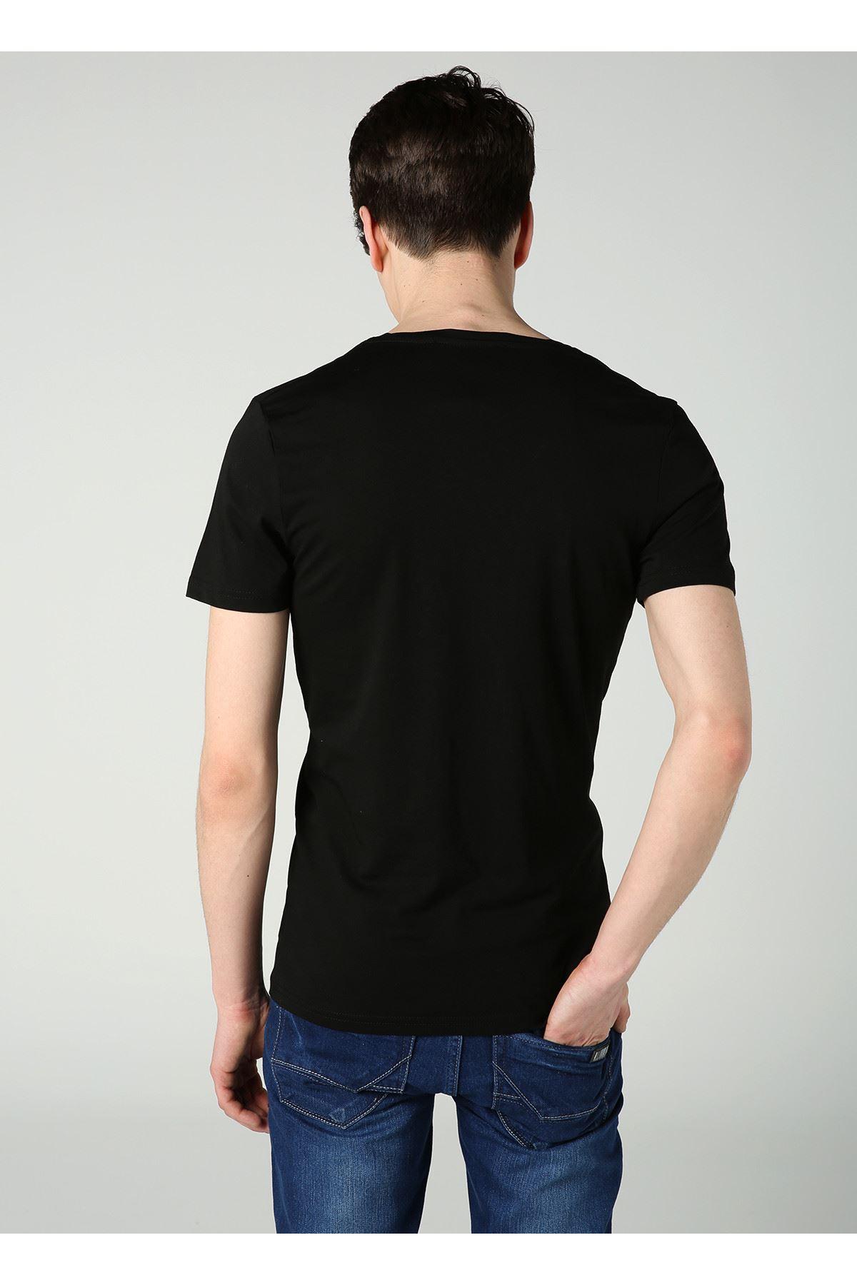 Bisiklet Yaka Cont Baskılı Erkek Siyah T-Shirt