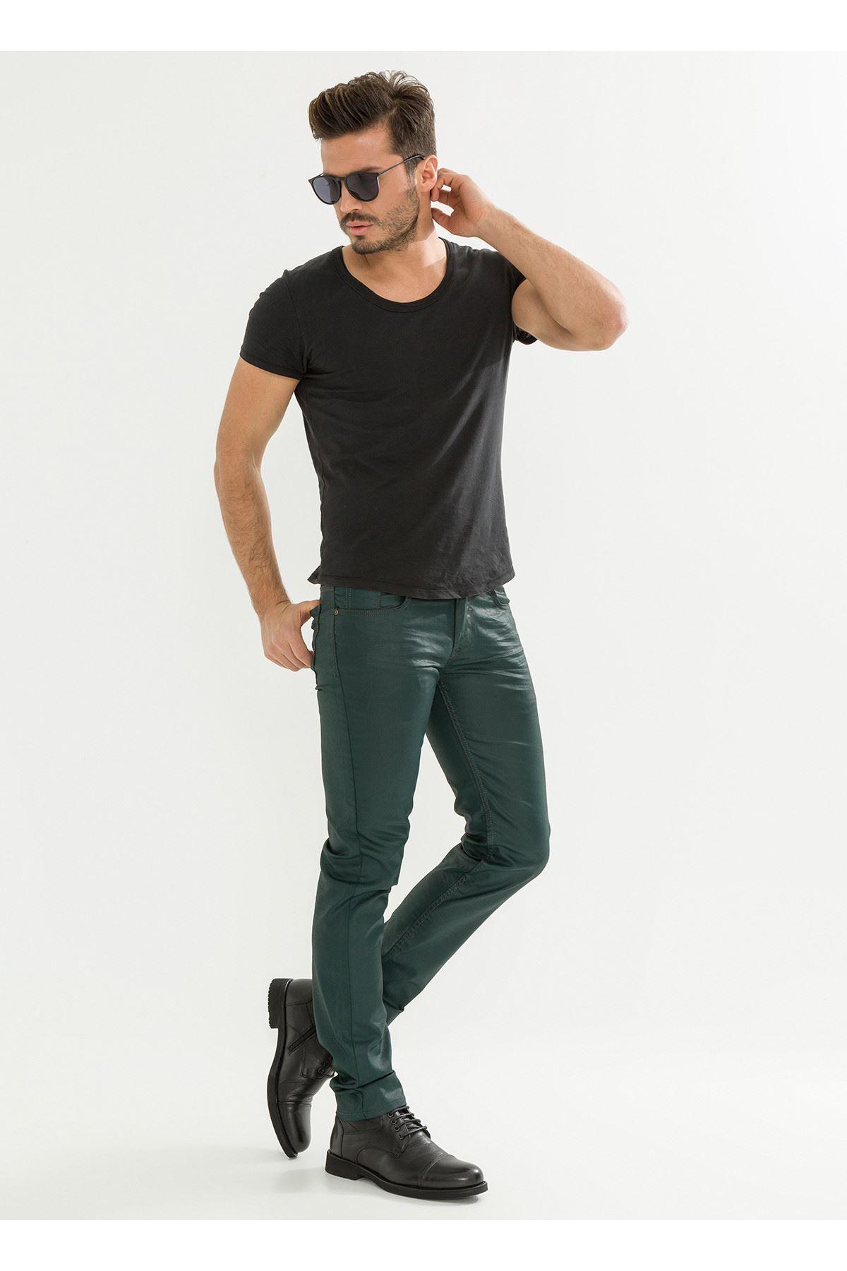 Deri Görünüm Özel Kaplamalı Yeşil Erkek Pantolon