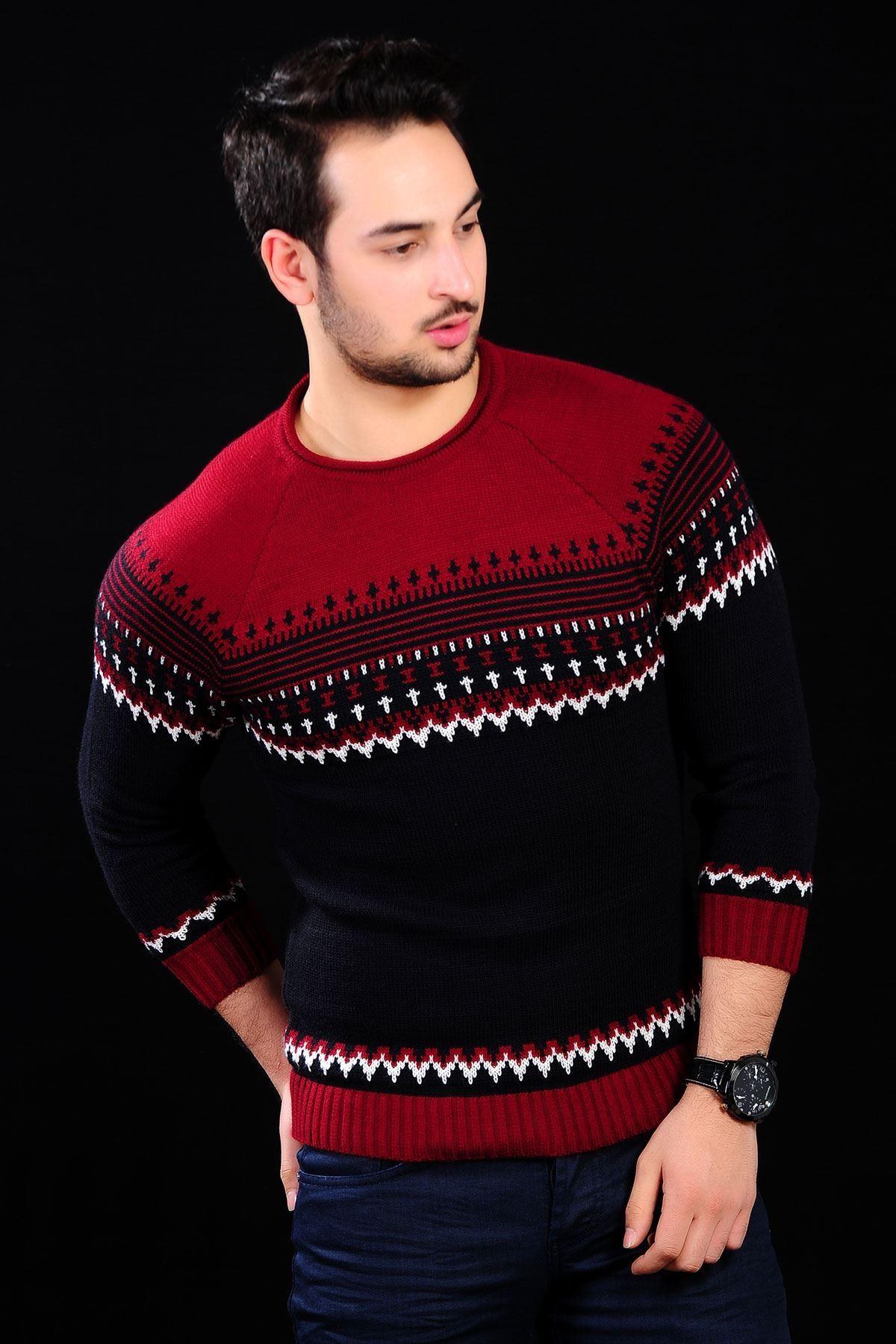 Desenli Kırmızı Siyah Triko Erkek