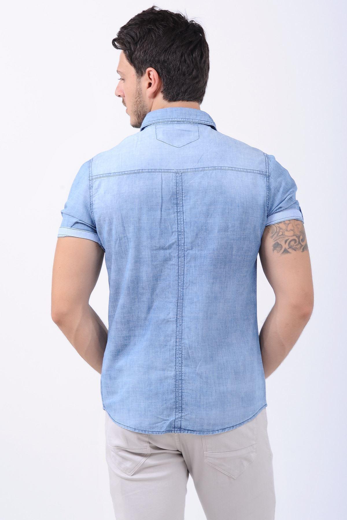Çift Cep Kısa Kol Açık Mavi Erkek Kot Gömlek