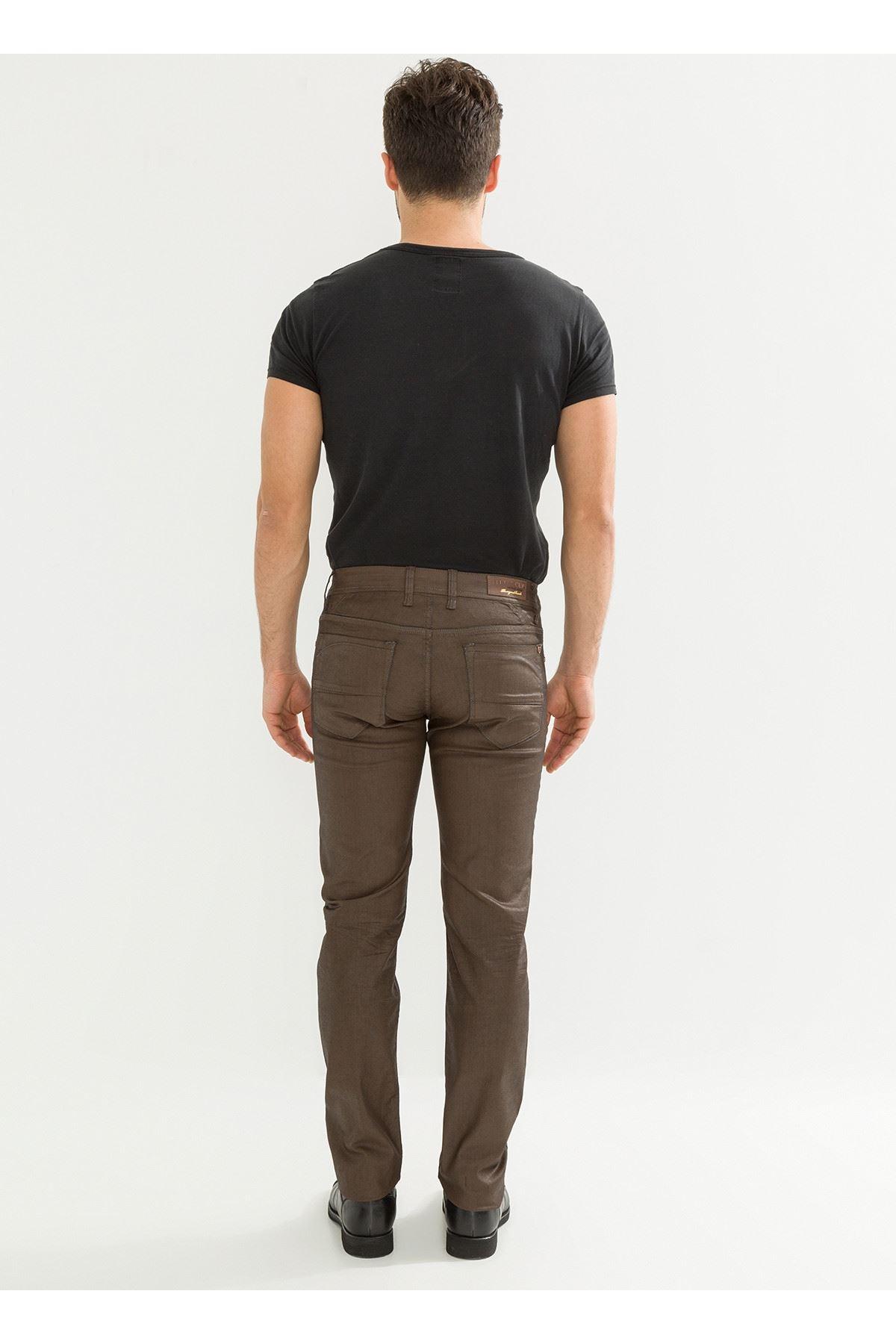 Deri Görünüm Özel Kahverengi Kaplamalı Erkek Pantolon