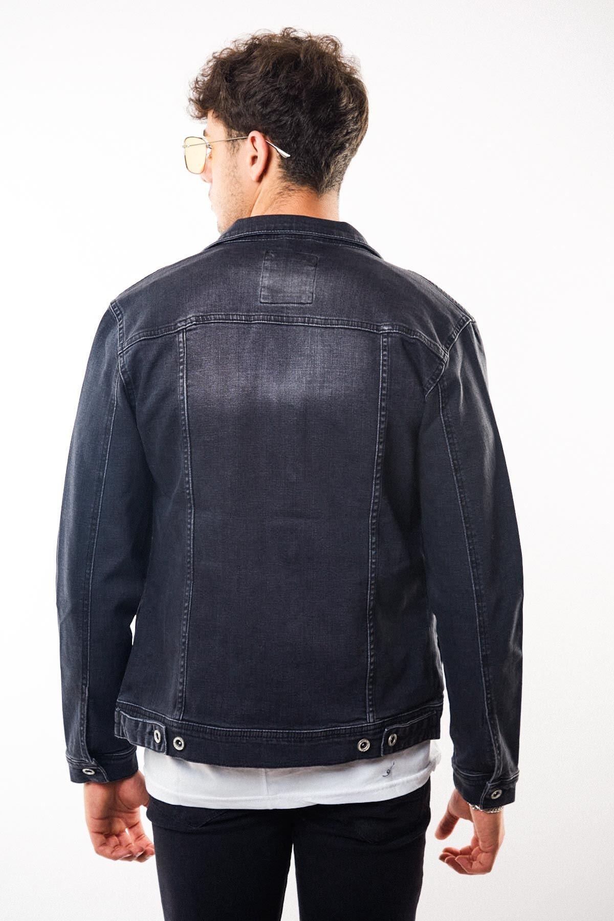 Düğmeli Yıkamalı Füme Erkek Kot Ceket