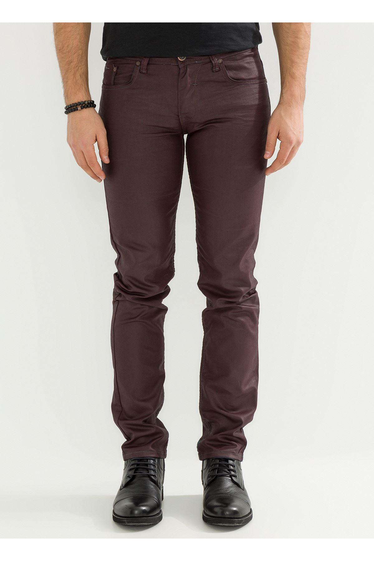 Deri Görünüm Özel Kaplamalı Bordo Erkek Pantolon