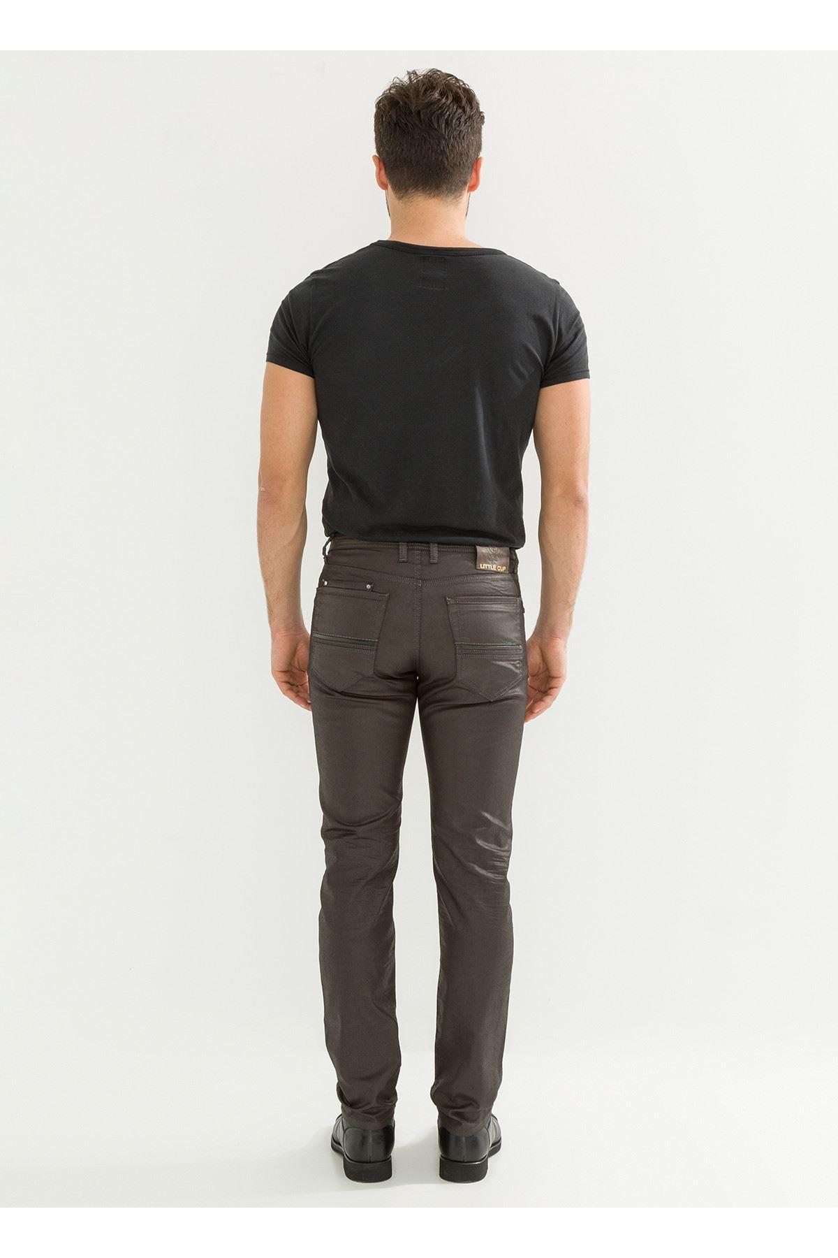 Deri Görünüm Özel Kaplamalı Kahve Erkek Pantolon