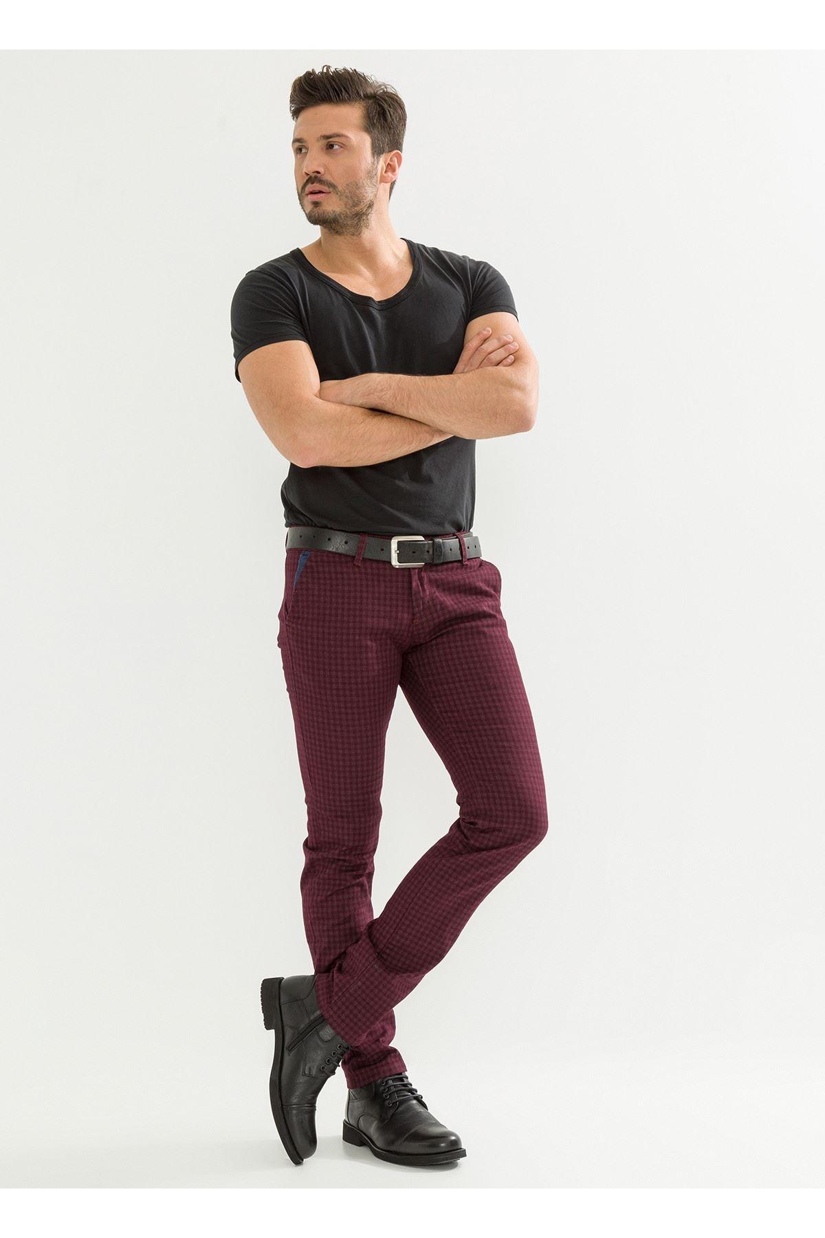 Ekose Bordo Erkek Pantolon