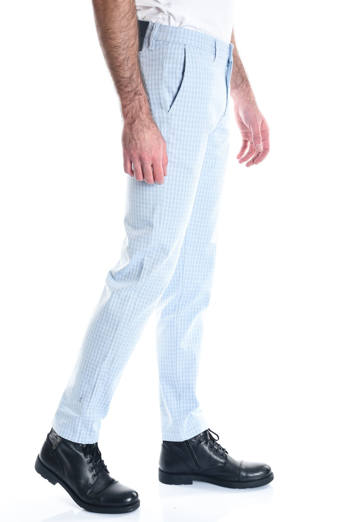 Ekose Buz Mavi Slimfit Erkek Pantolon
