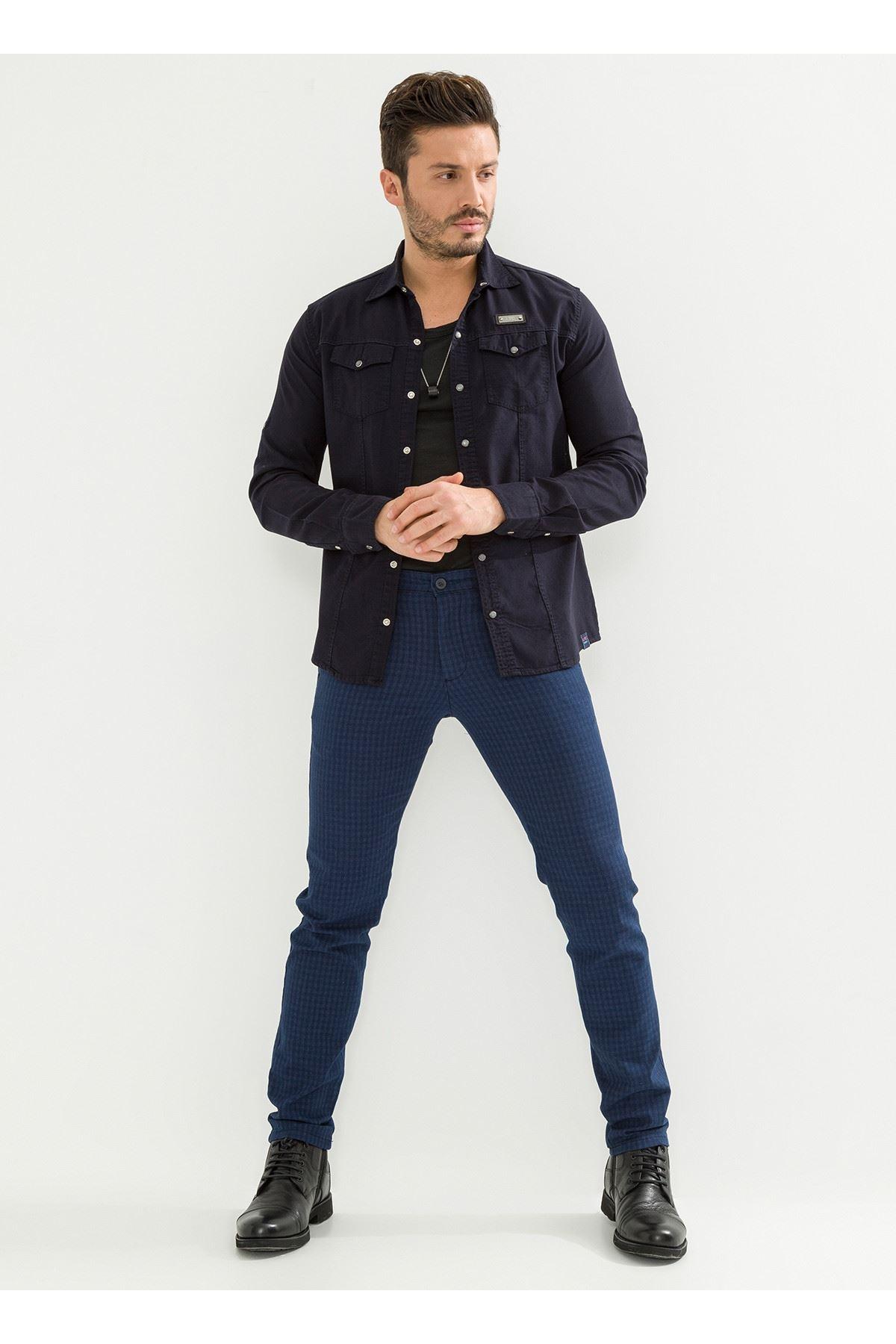 Ekose İndigo Chino Erkek Pantolon