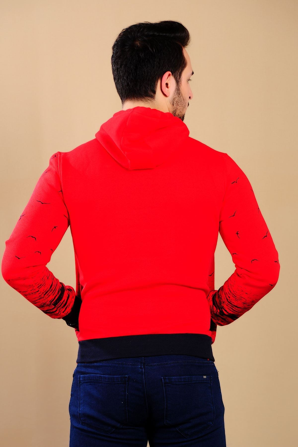 Erkek Martı Desen Kırmızı Sweat