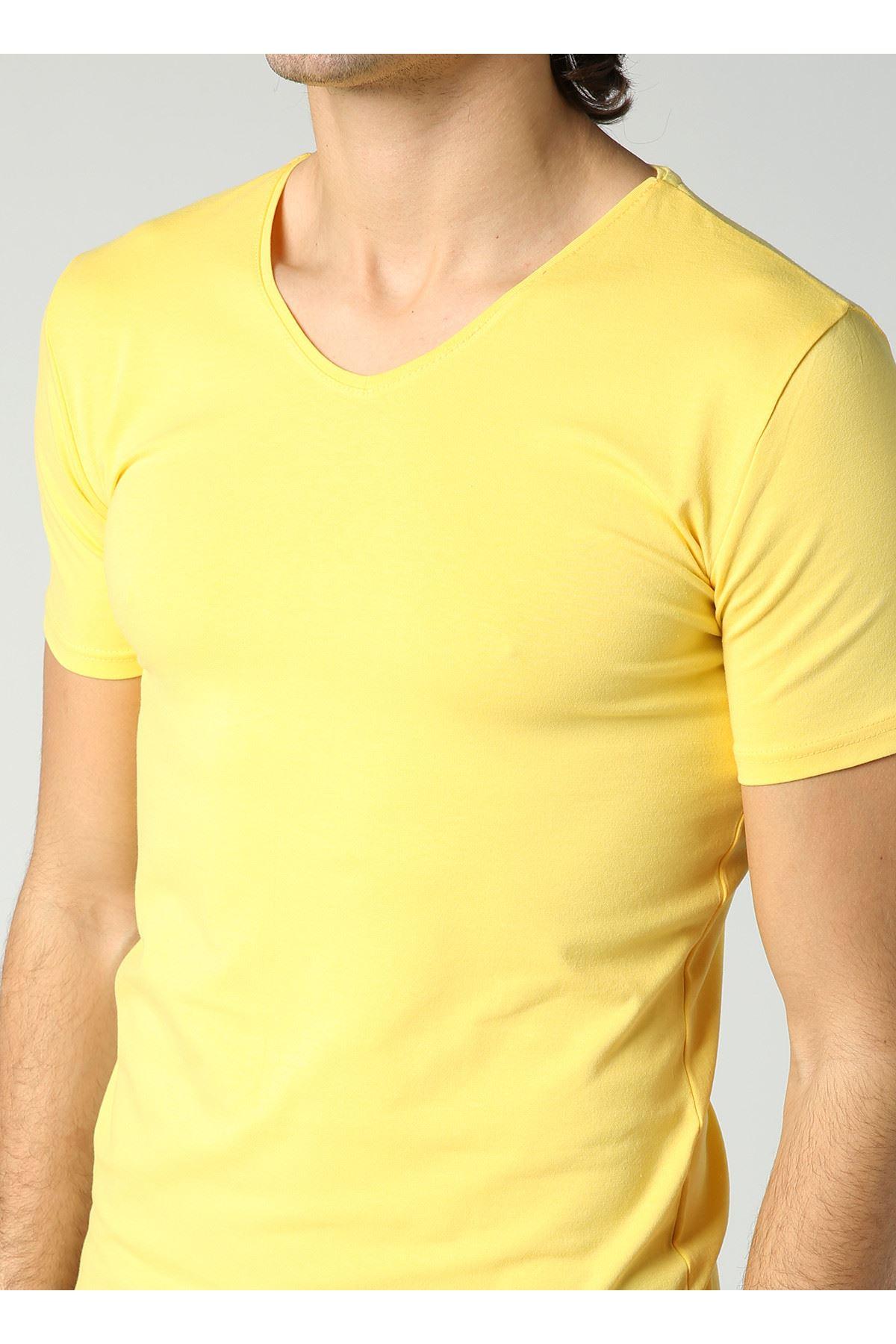 Erkek V Yaka Likralı Basic Sarı T-Shirt