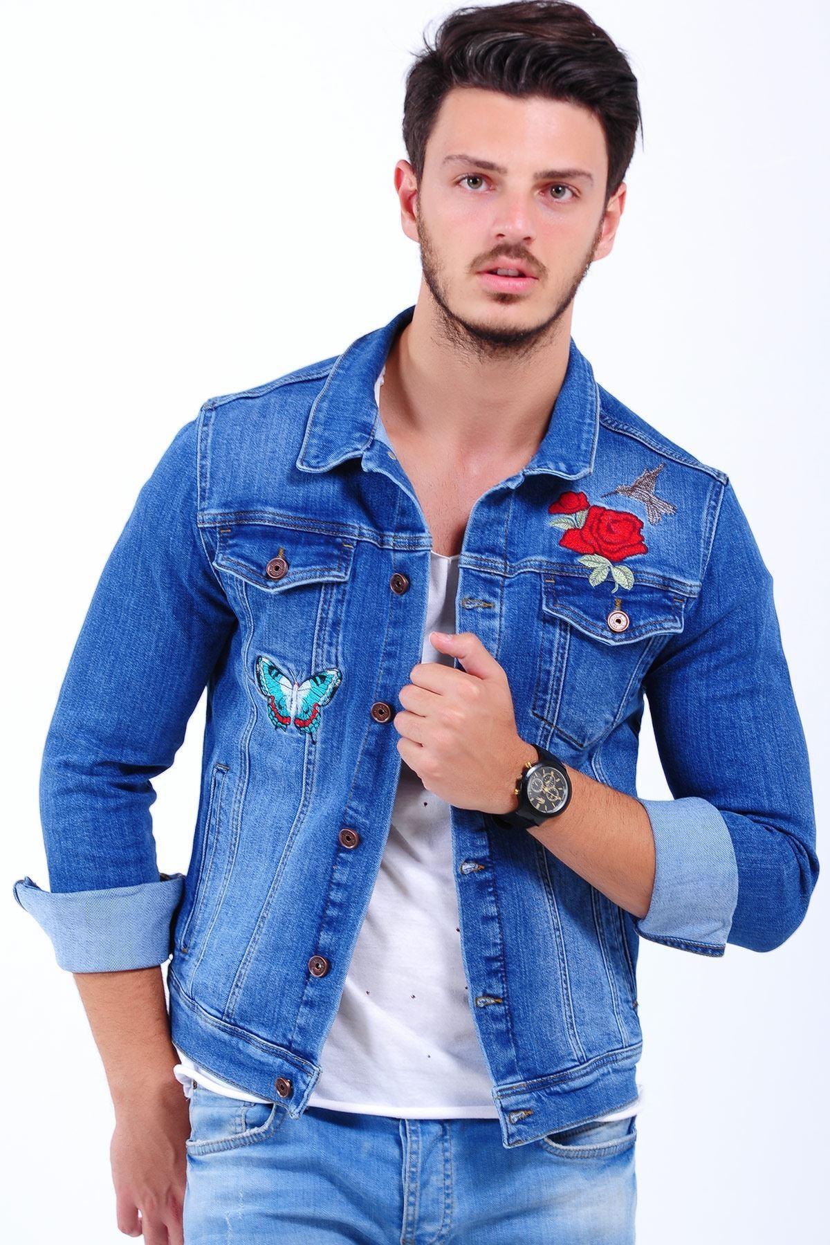 Gül Kelebek İşlemeli Açık Mavi Erkek Kot Ceket