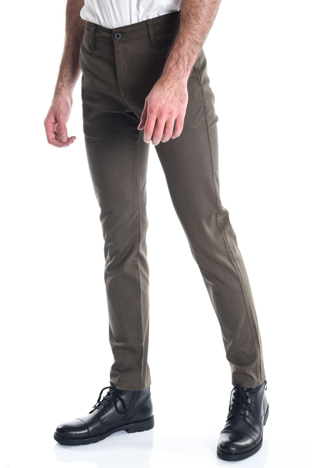 Haki Erkek Armürlü Chino Pantolon