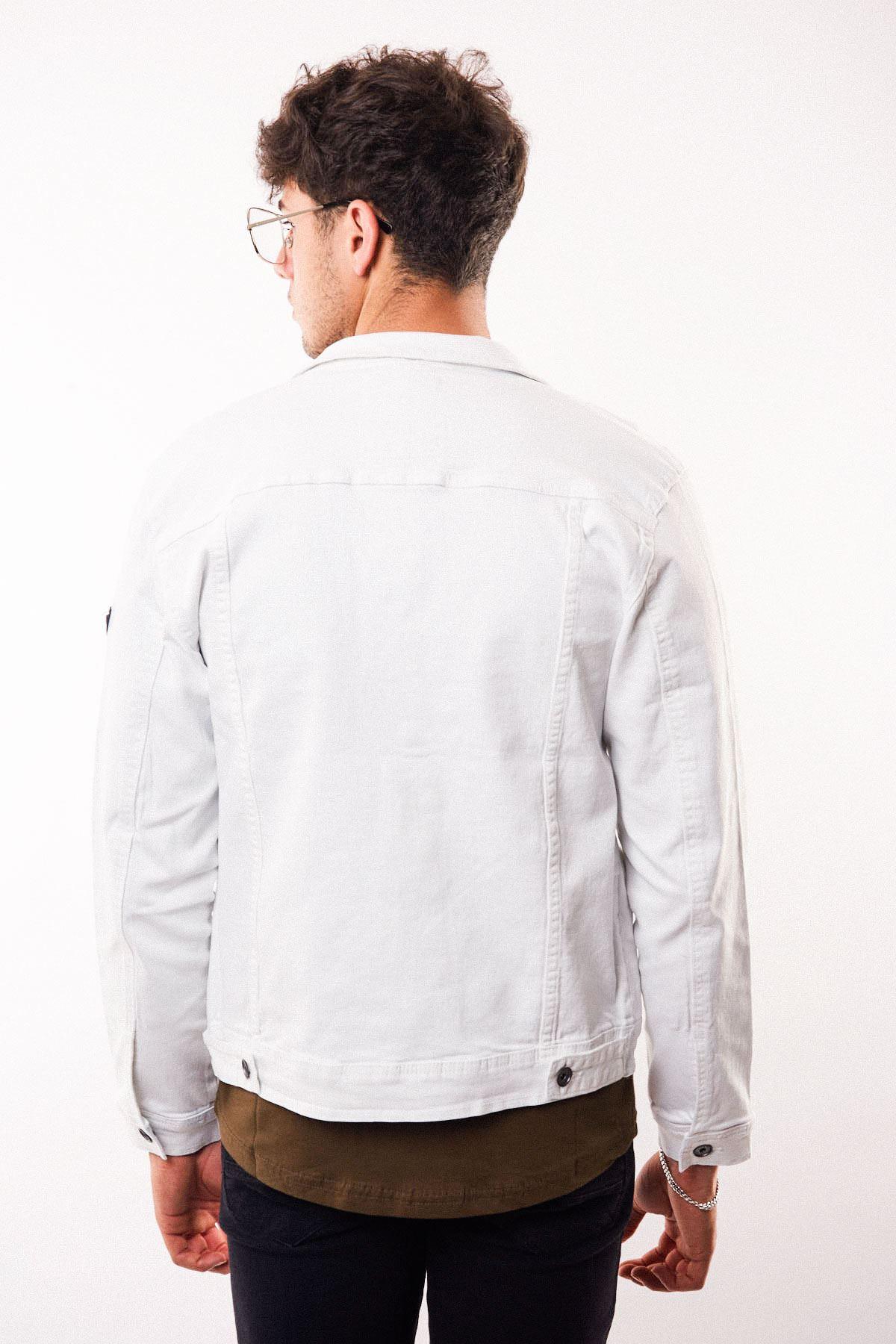 Gri Düğmeli Beyaz Yıpratmalı Erkek Kot Ceket