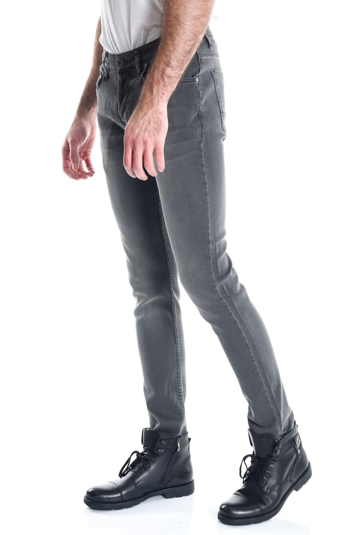 Haki Armürlü Örme Slimfit Erkek Kot Pantolon