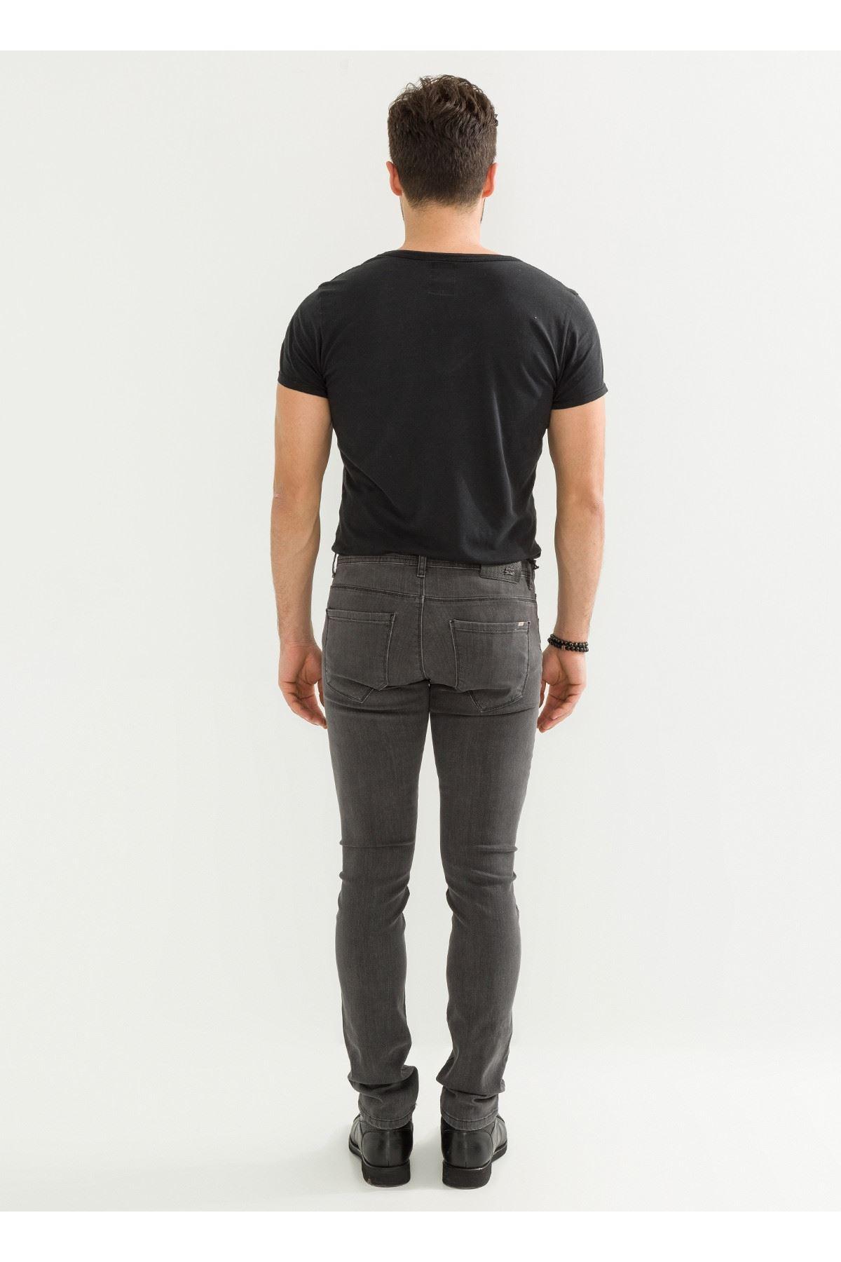 Gri Slim Fit Erkek Kot Pantolon