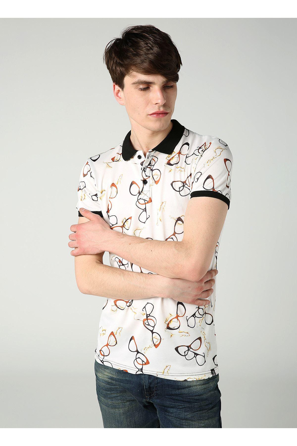 Gözlük Desen Polo Yaka Beyaz Erkek T-Shirt