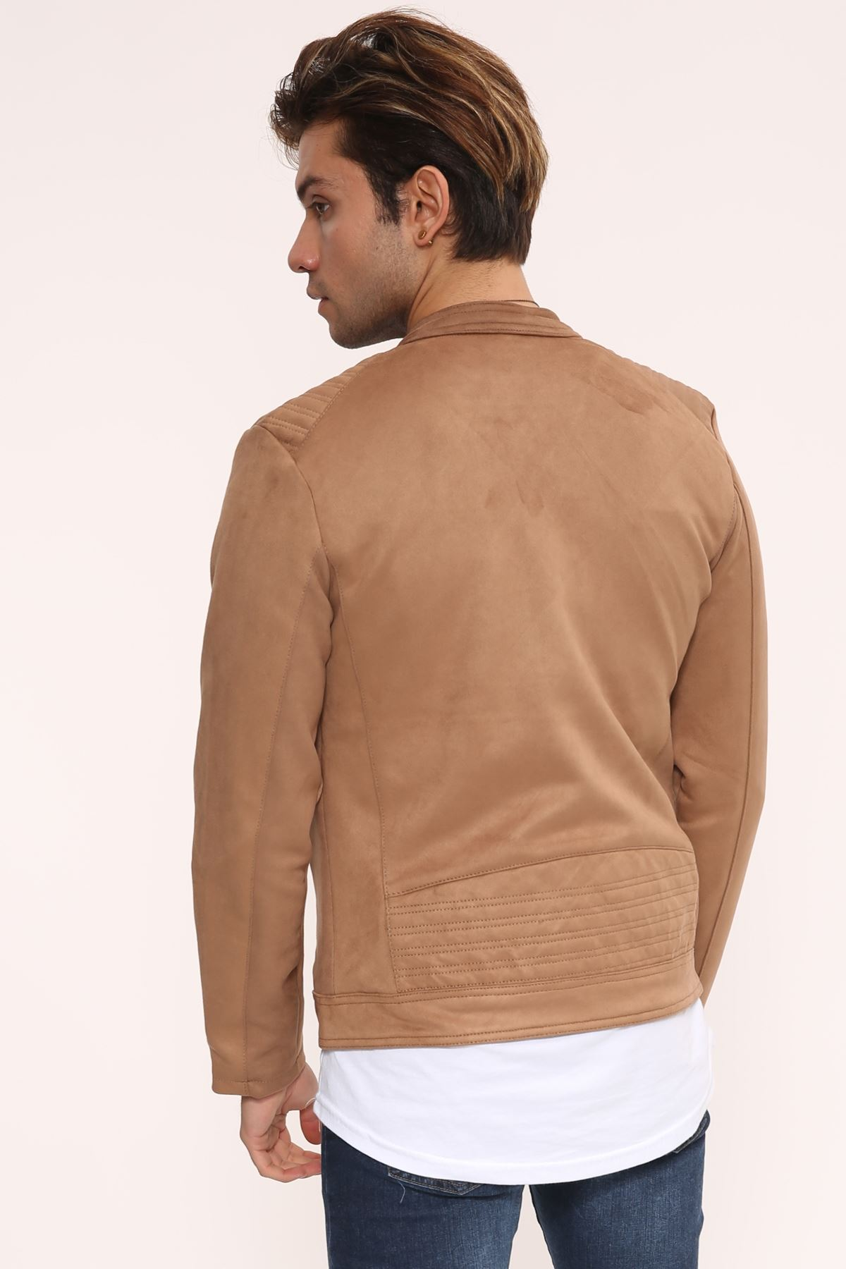 Fermuar Detay Açık Taba Süet Erkek Ceket