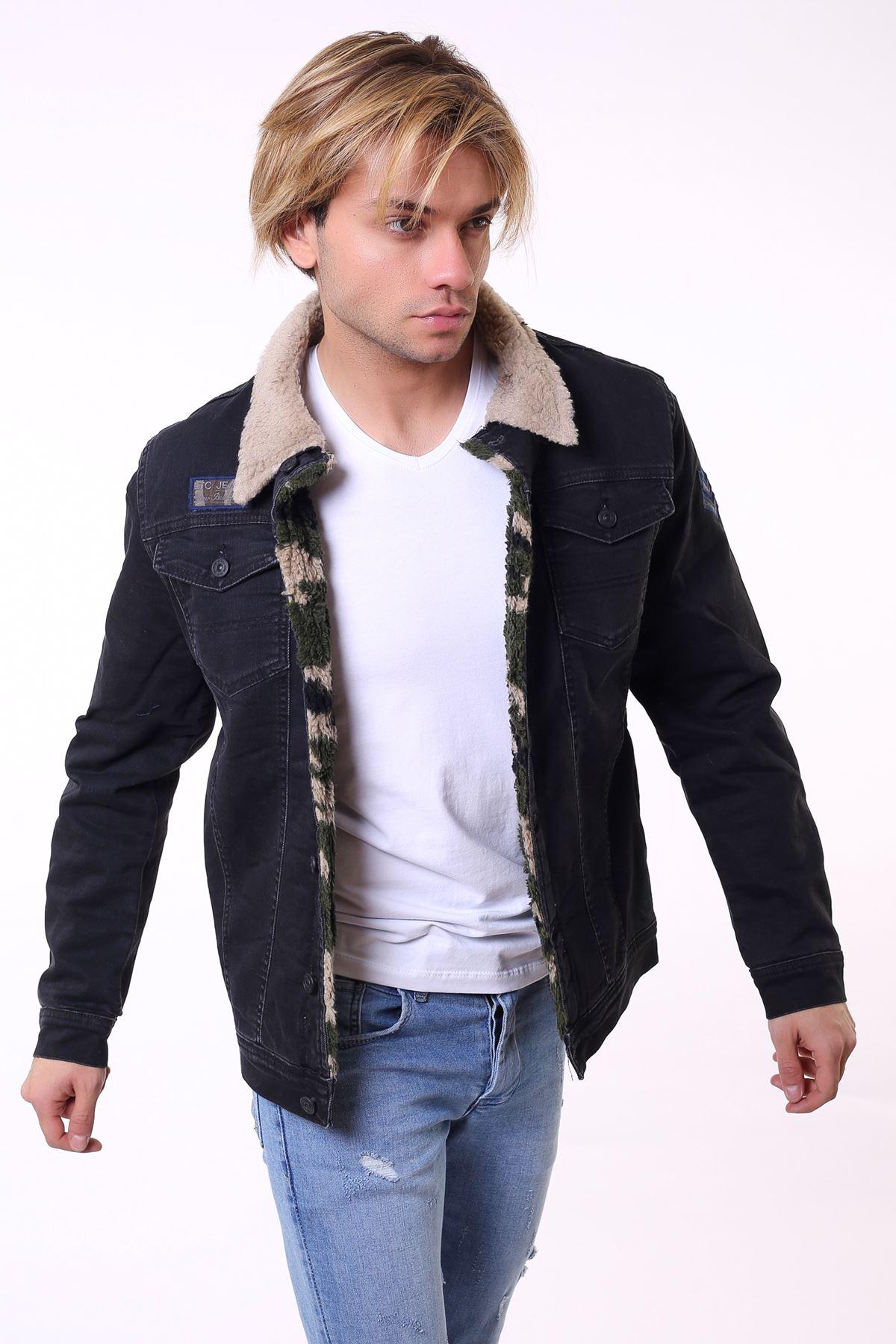 İçi Kürklü Kamuflaj Yakası Krem Erkek Kot Ceket