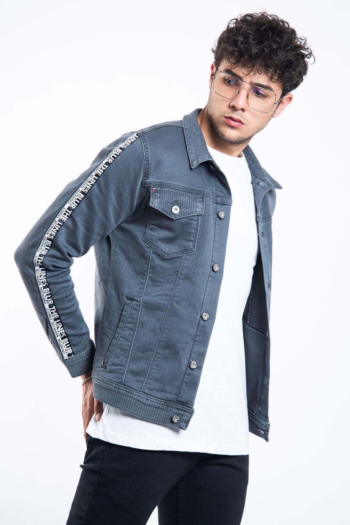 Kolu Şeritli Kumaş Detay Gri Erkek Kot Ceket