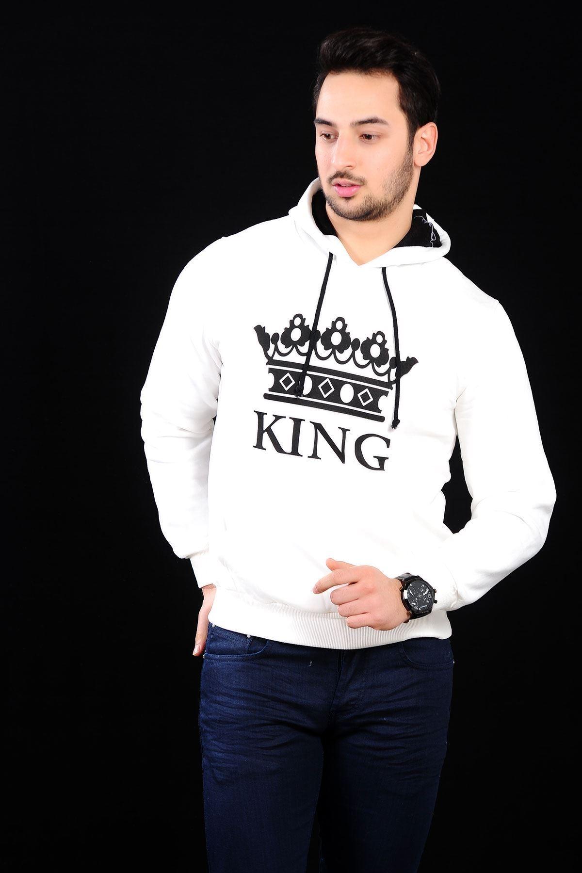 King Beyaz Sweat Erkek