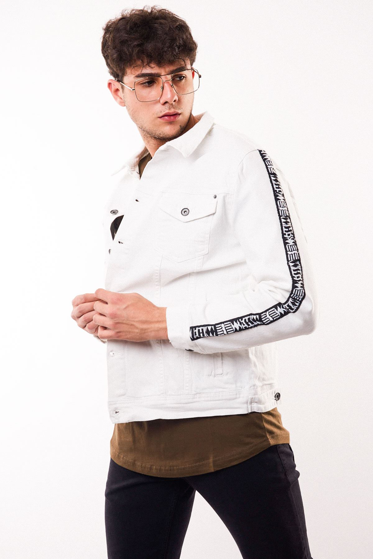 Kolları Şerit Detay Erkek Beyaz Kot Ceket