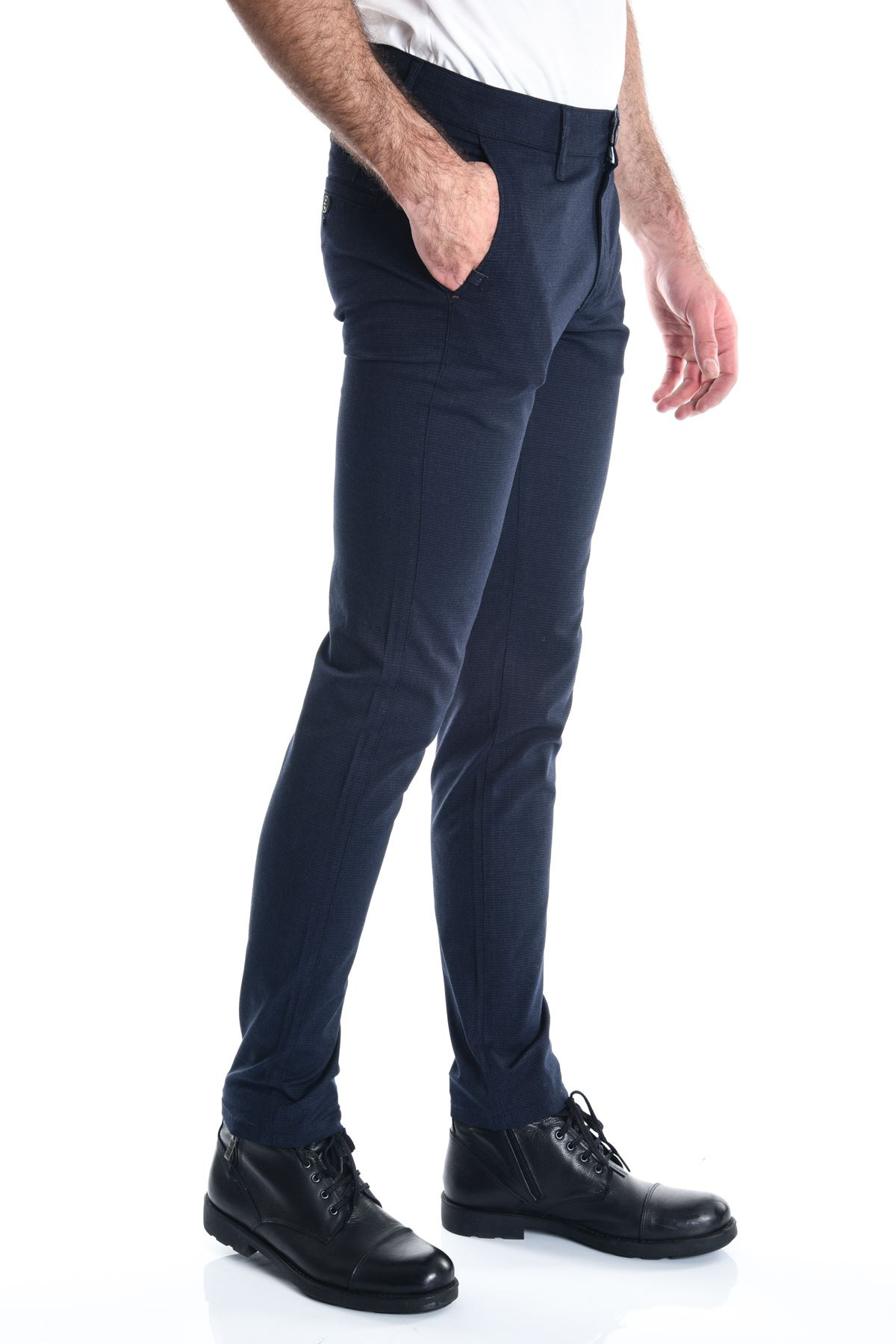 Lacivert Armür Desenli Chino Erkek Pantolon