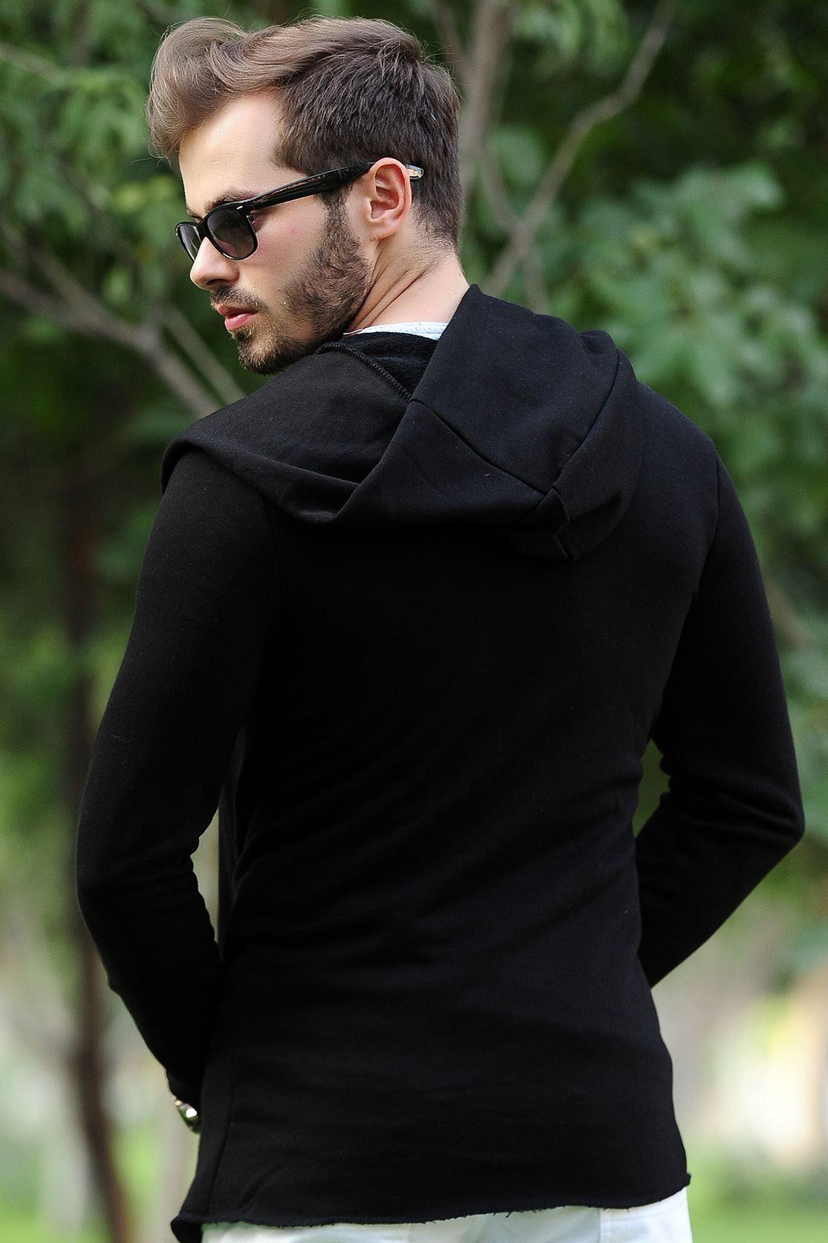 Kapşonlu Siyah Uzun Erkek Hırka