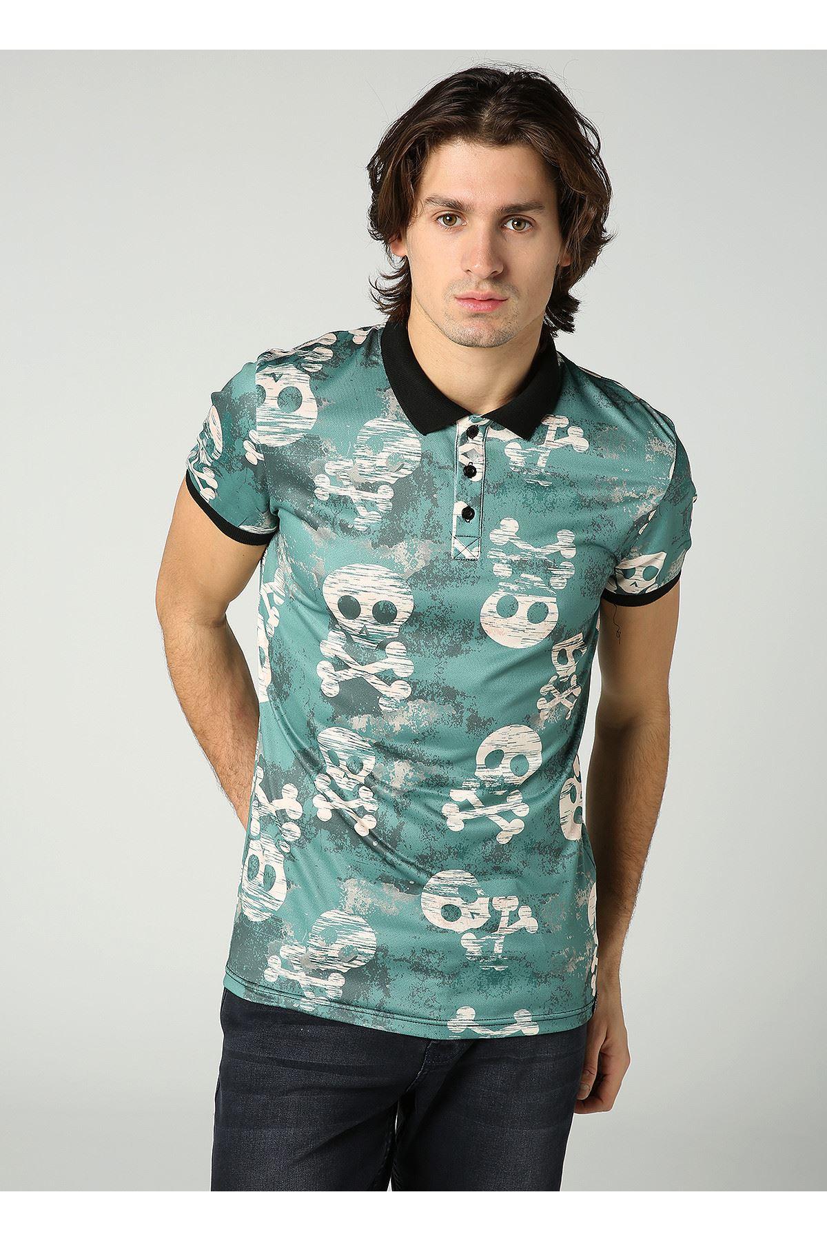 Kuru Kafa Desen Polo Yaka Yeşil Erkek T-Shirt