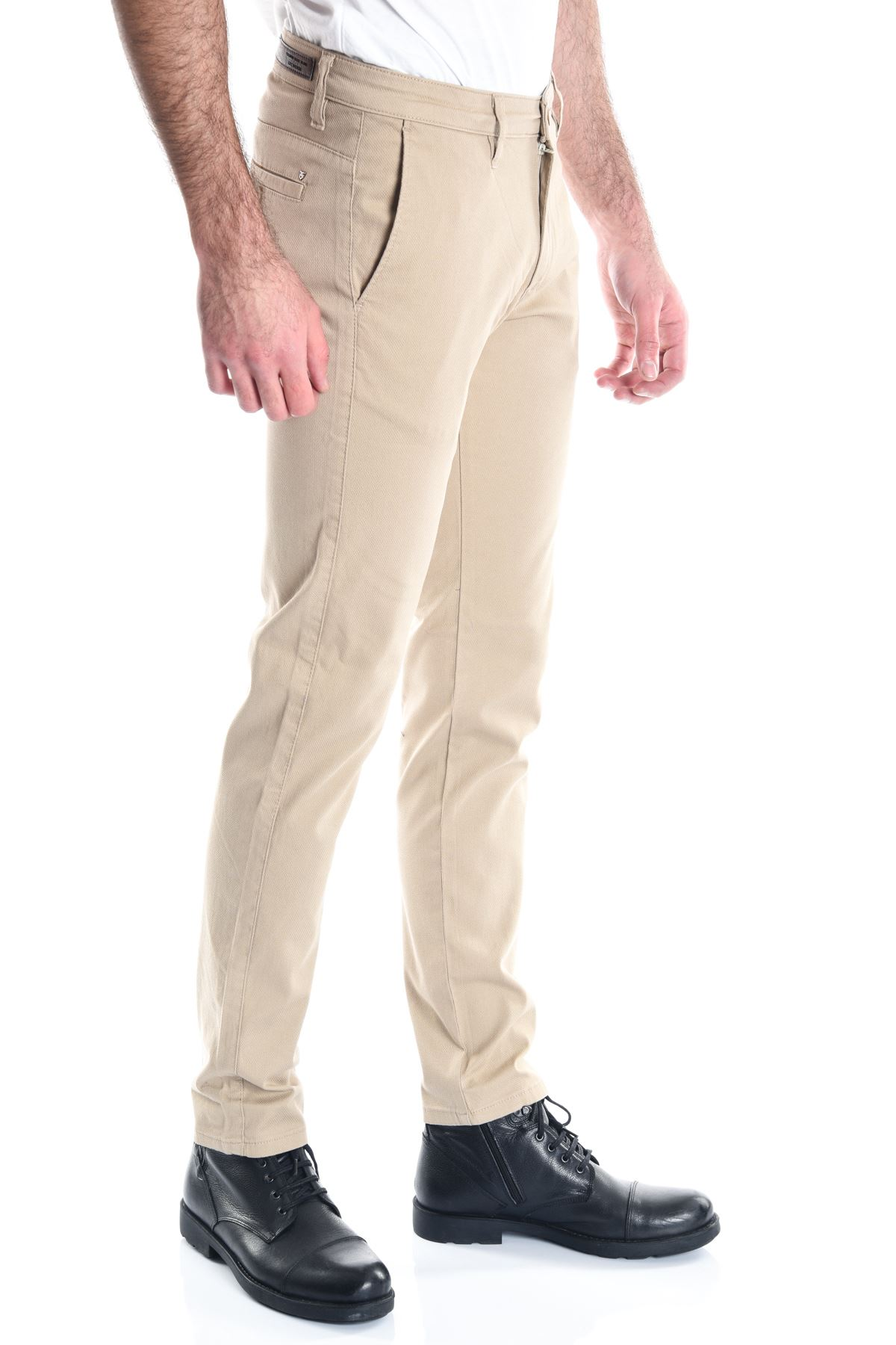 Krem Erkek Armürlü Chino Pantolon