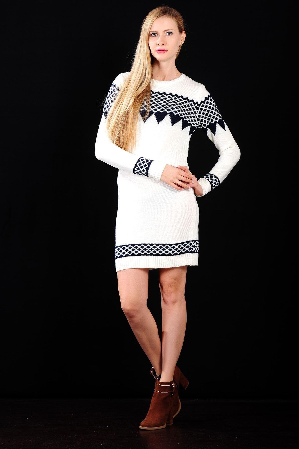 Kol Detay Desenli Beyaz Bayan Triko