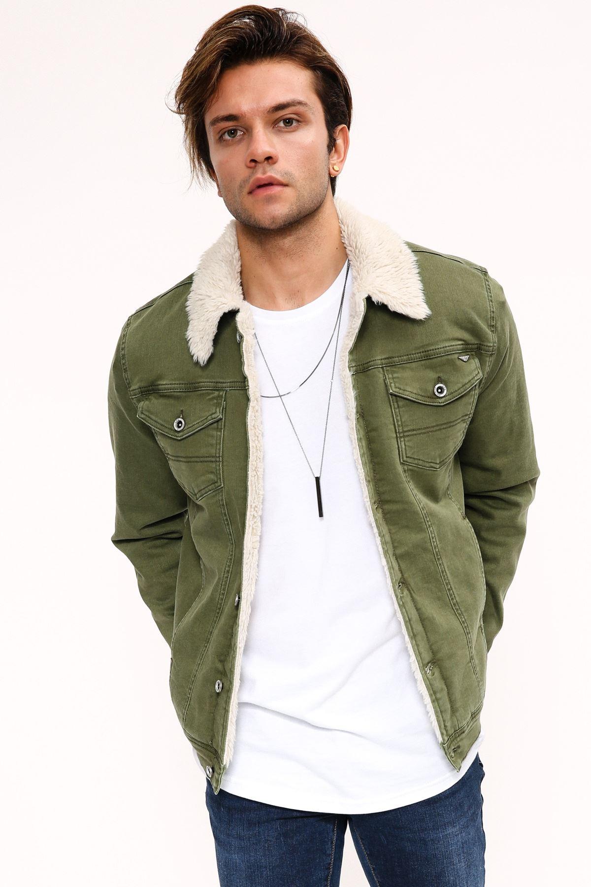 Kürk Beyaz Yeşil Erkek Kot Ceket