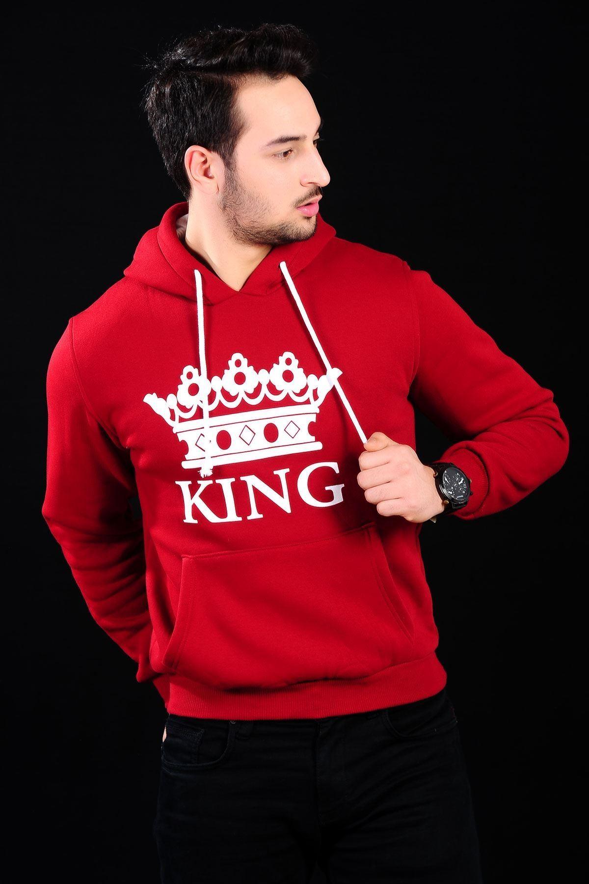 King  Kırmızı Sweat Erkek