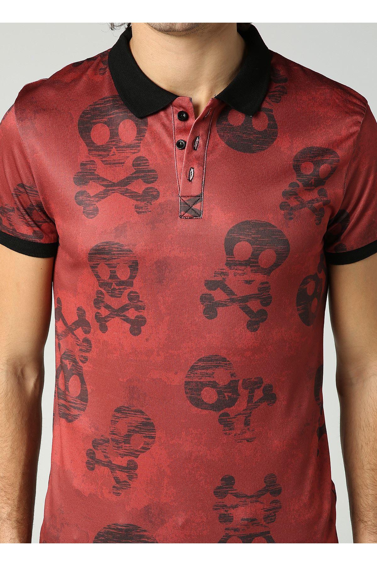 Kuru Kafa Desen Polo Yaka Bordo Erkek T-Shirt