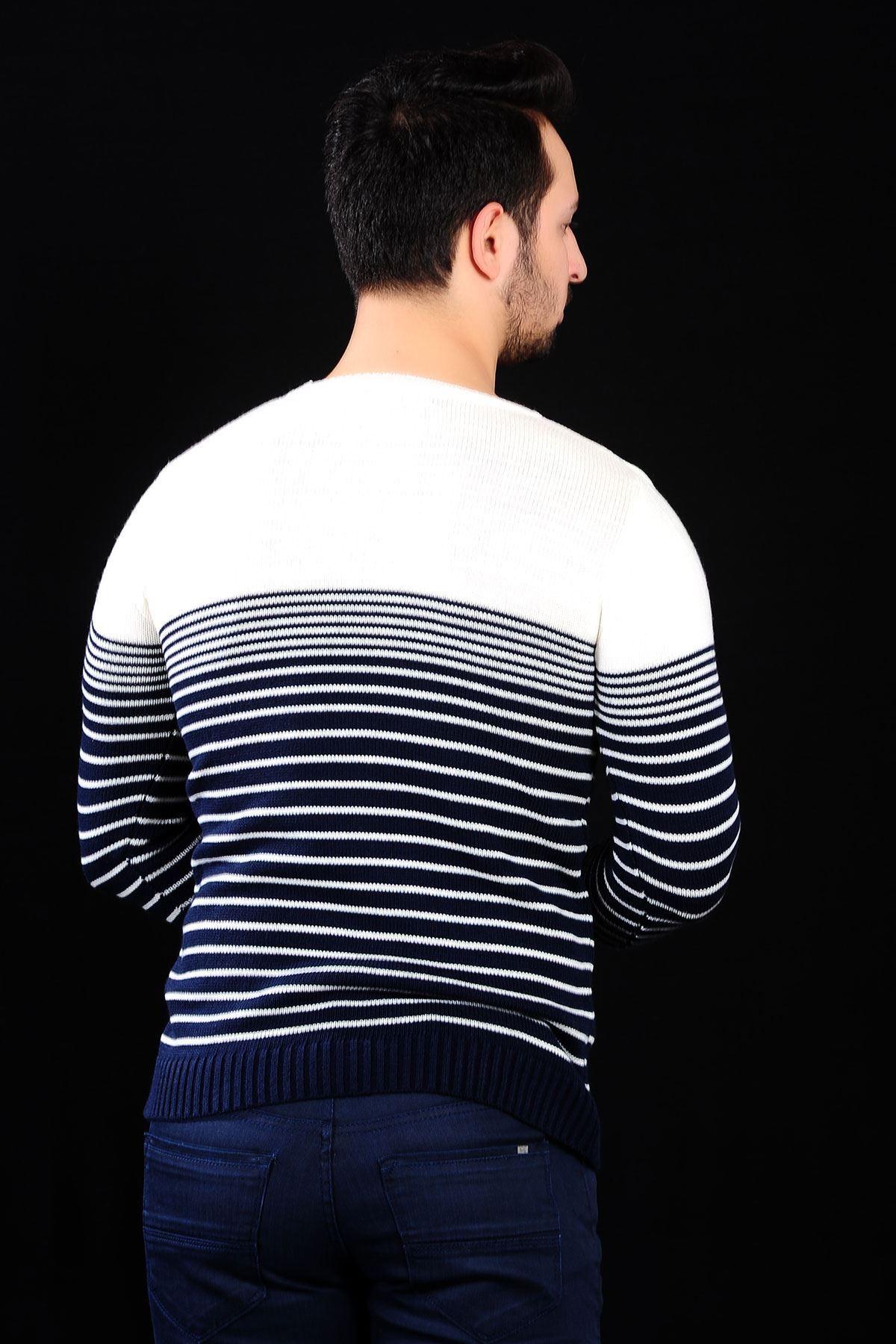 Lacivert Çizgi Desen Beyaz Triko Bay