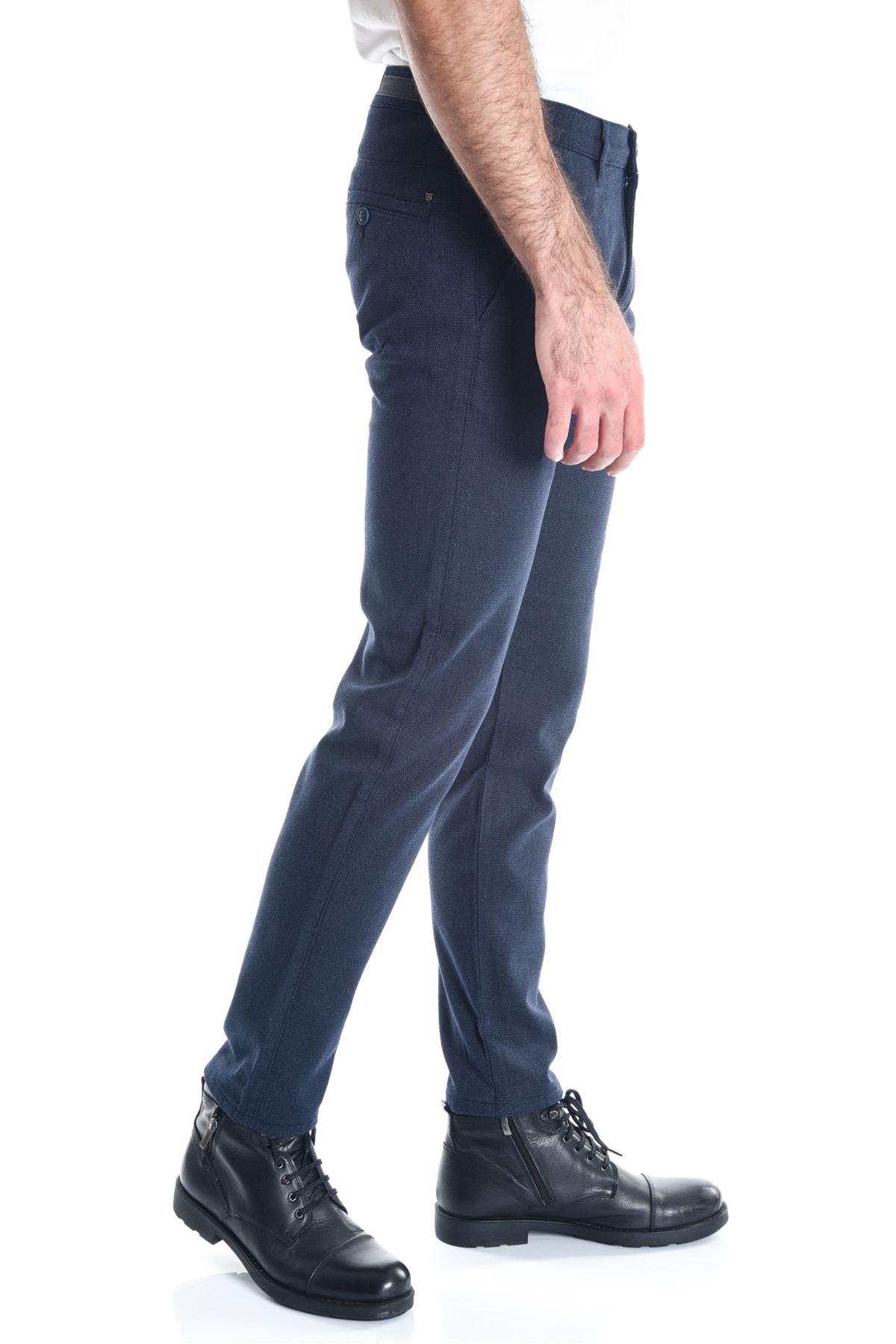 Lacivert Desenli Armür Chino Erkek Pantolon